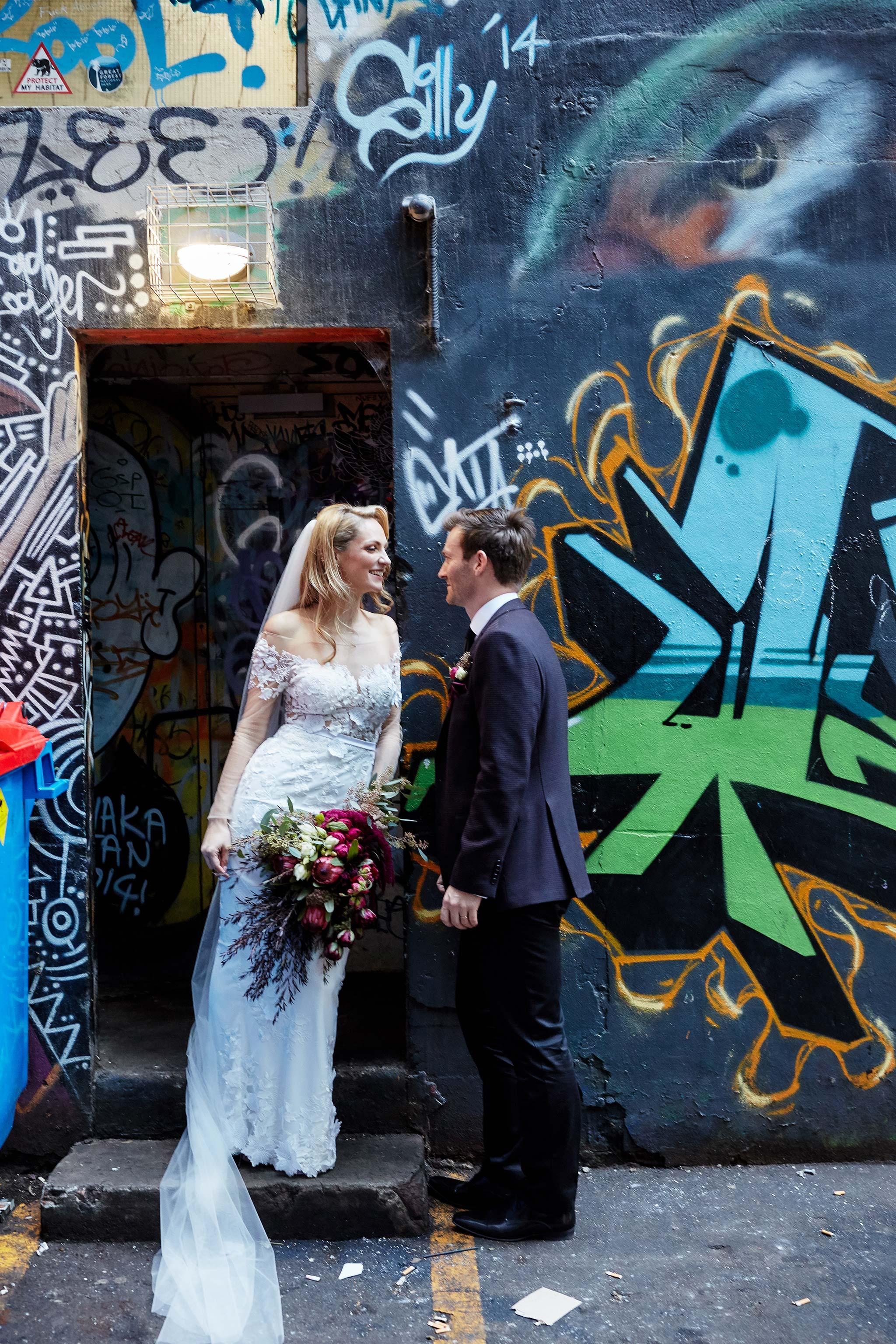 Melbourne-alley-wedding-photographer-bride-groom-portrait-graffiti