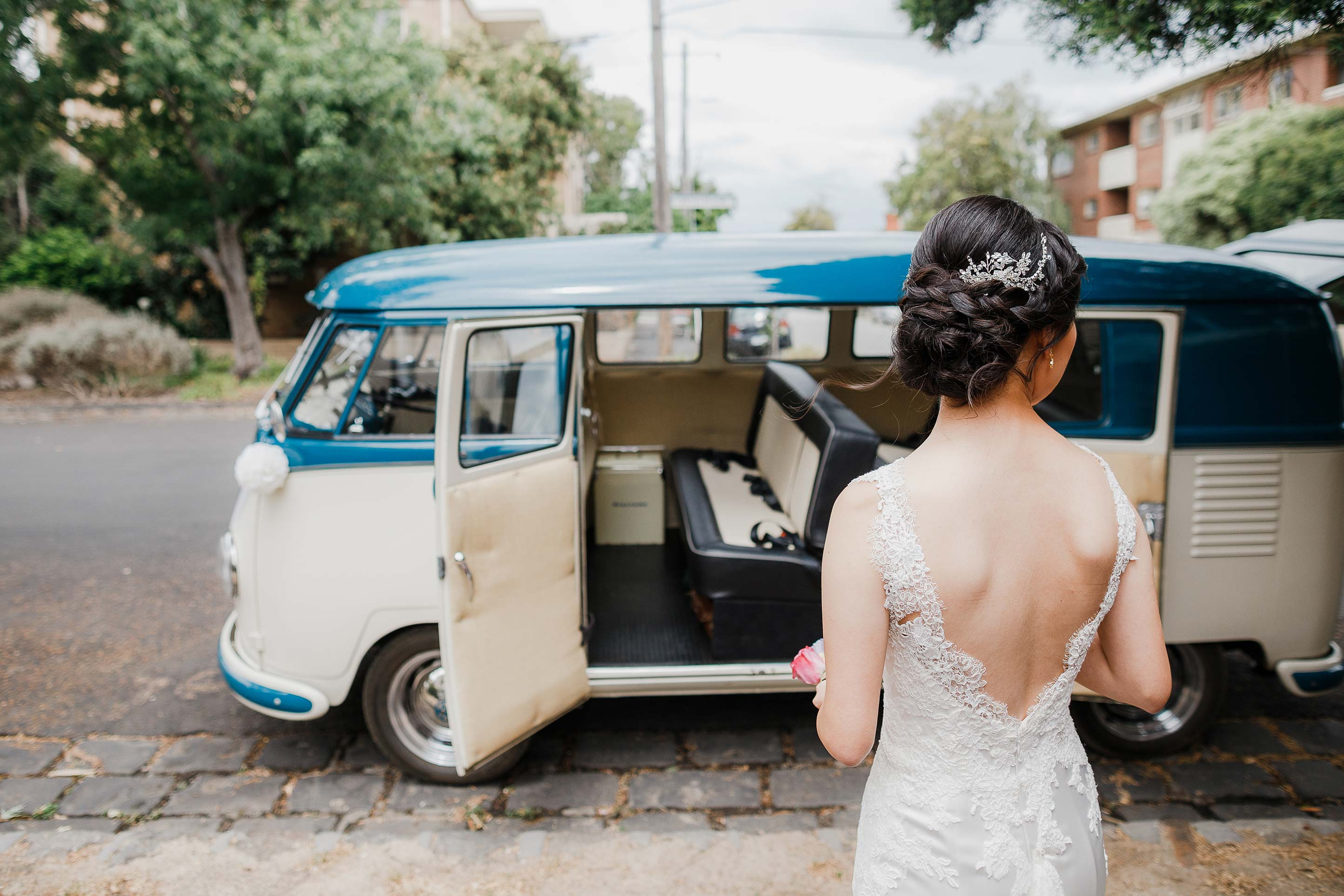 Melbourne-Richmond-Glasshaus-Wedding-getting-ready-bride-vw-wagon-bridal-car