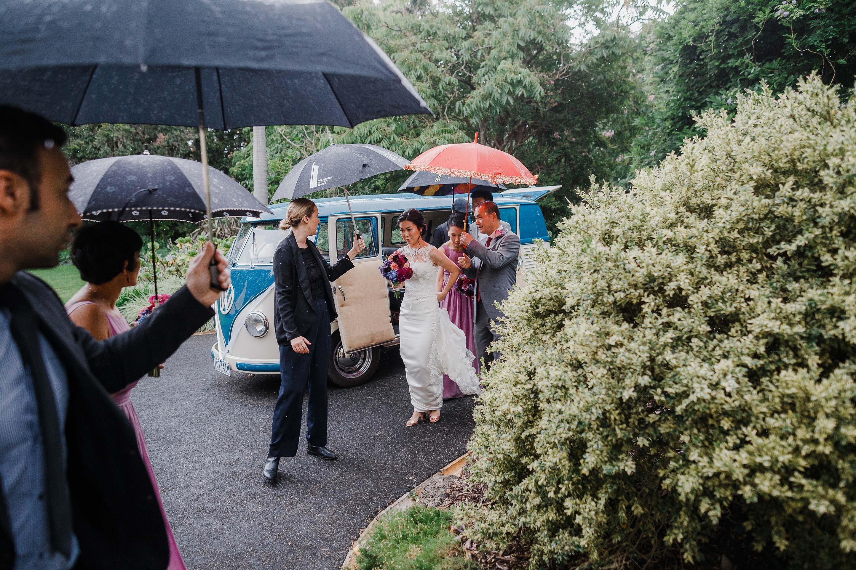 Melbourne-Richmond-Glasshaus-Wedding-vw-wagon-bride-arrival