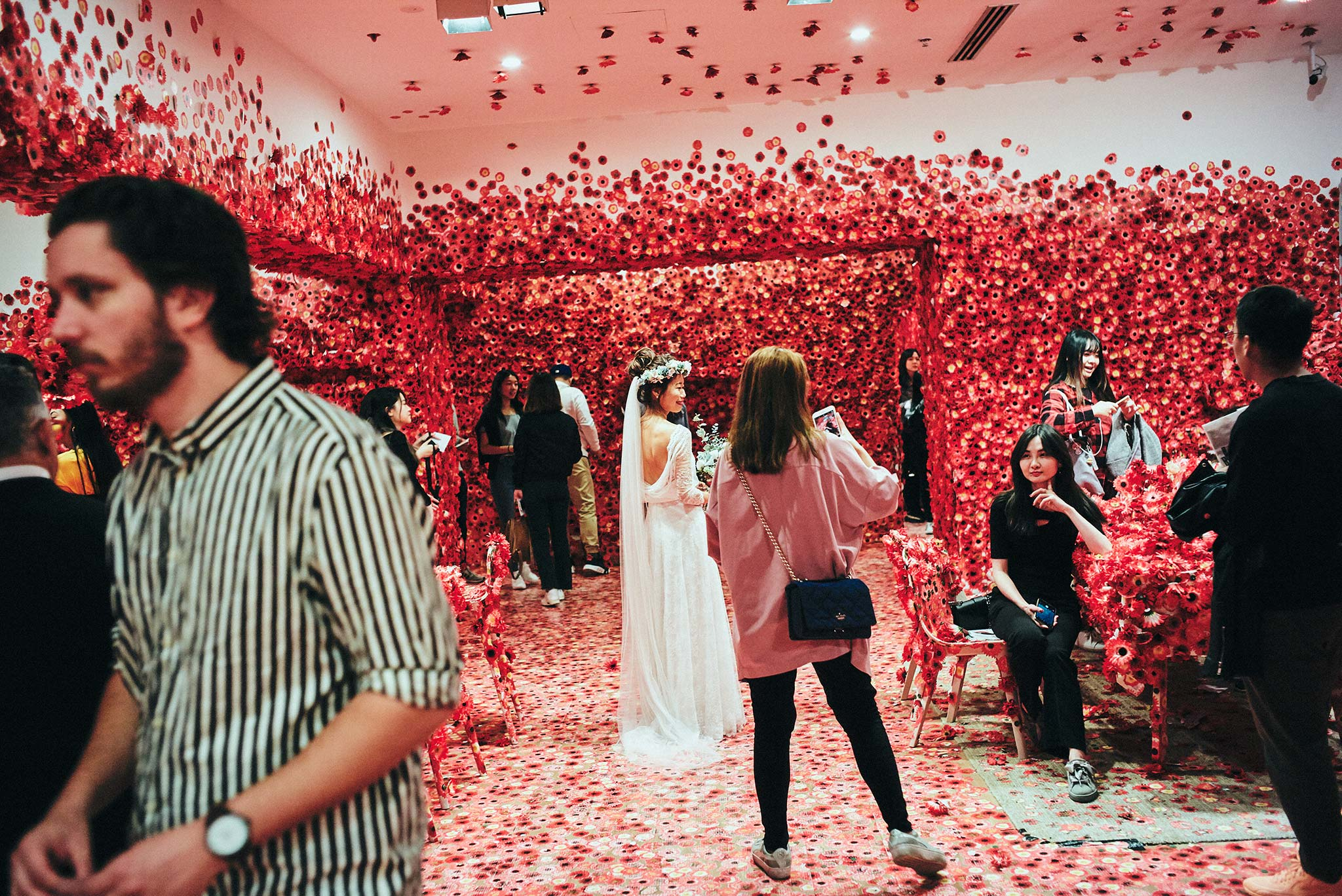 Melbourne-NGV-Triennial-Wedding-yayoi-kusama-flower-room