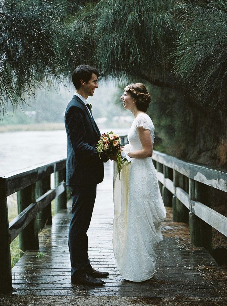 A medium format portrait of a Lorne wedding couple on a bridge taken with Mamiya 645
