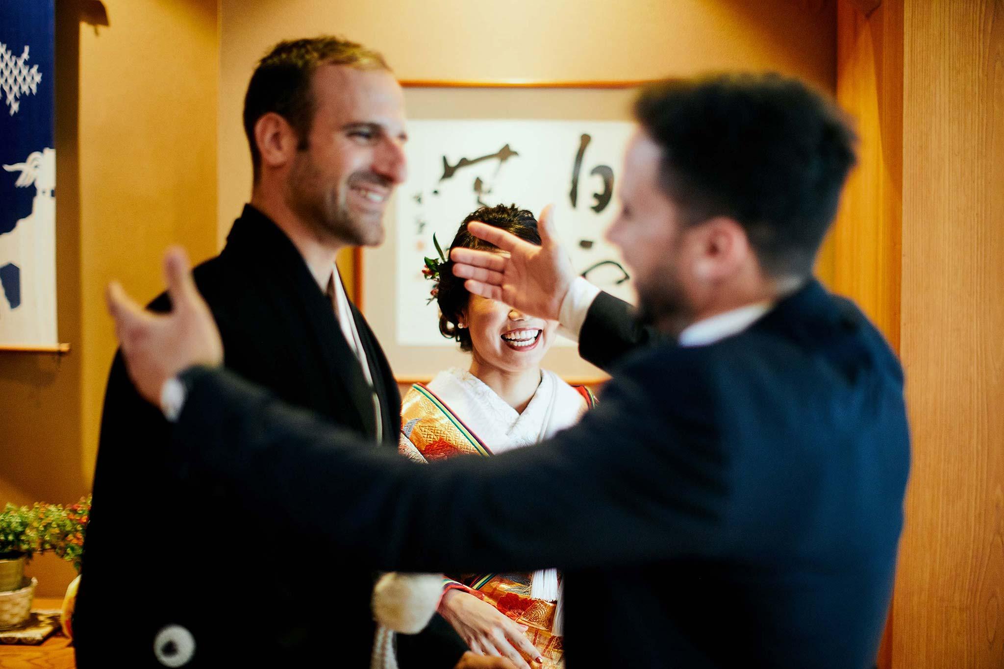 tokyo asakusa shrine traditional wedding bride groom greeting