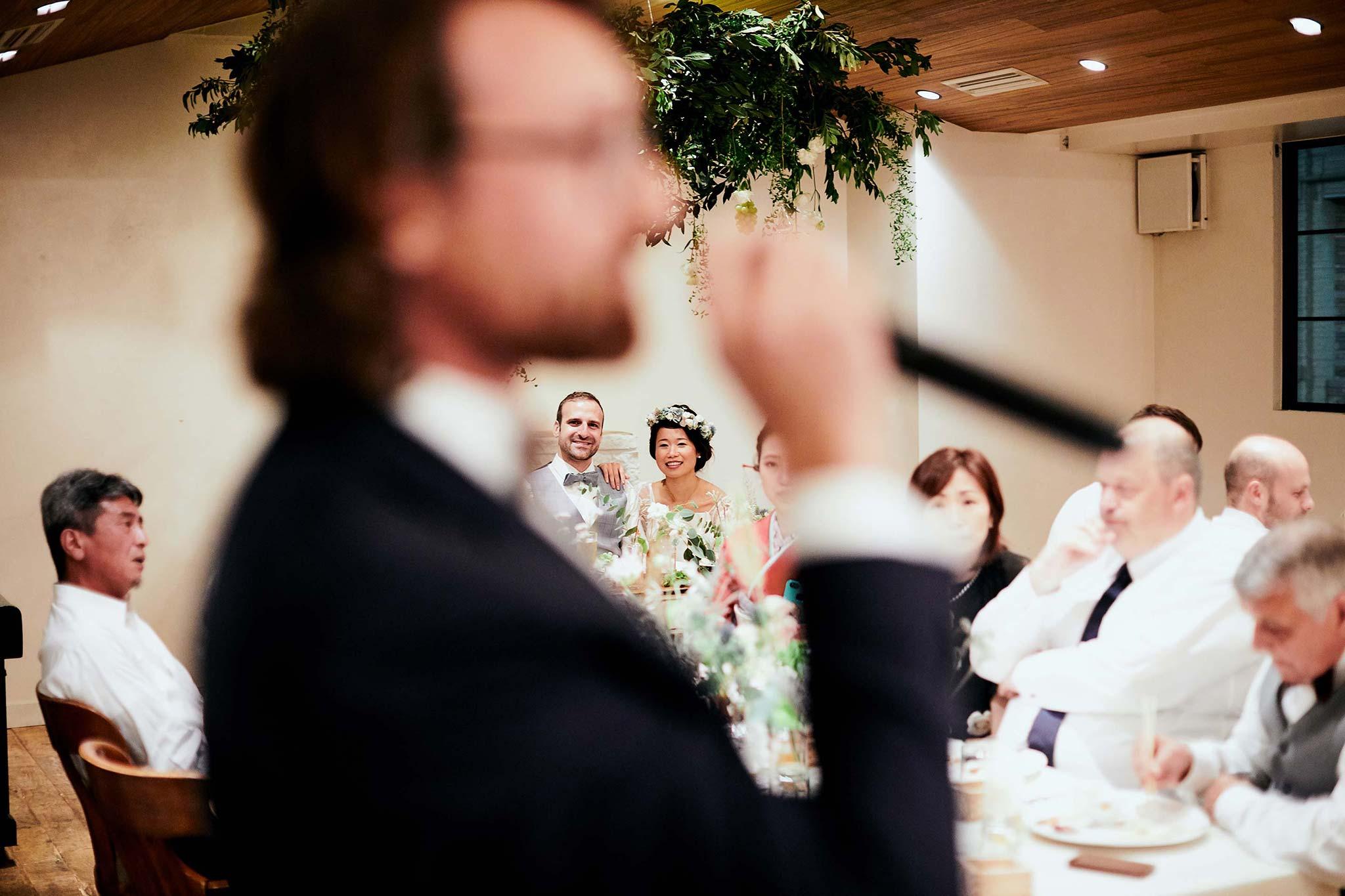 tokyo asakusa shrine bears table reception couple reacting to speech