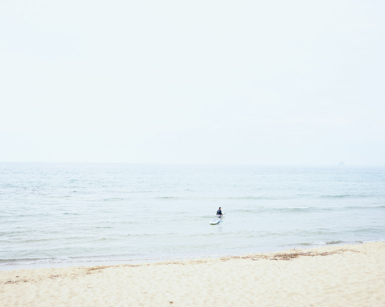 itoshima beach surfer summer calm