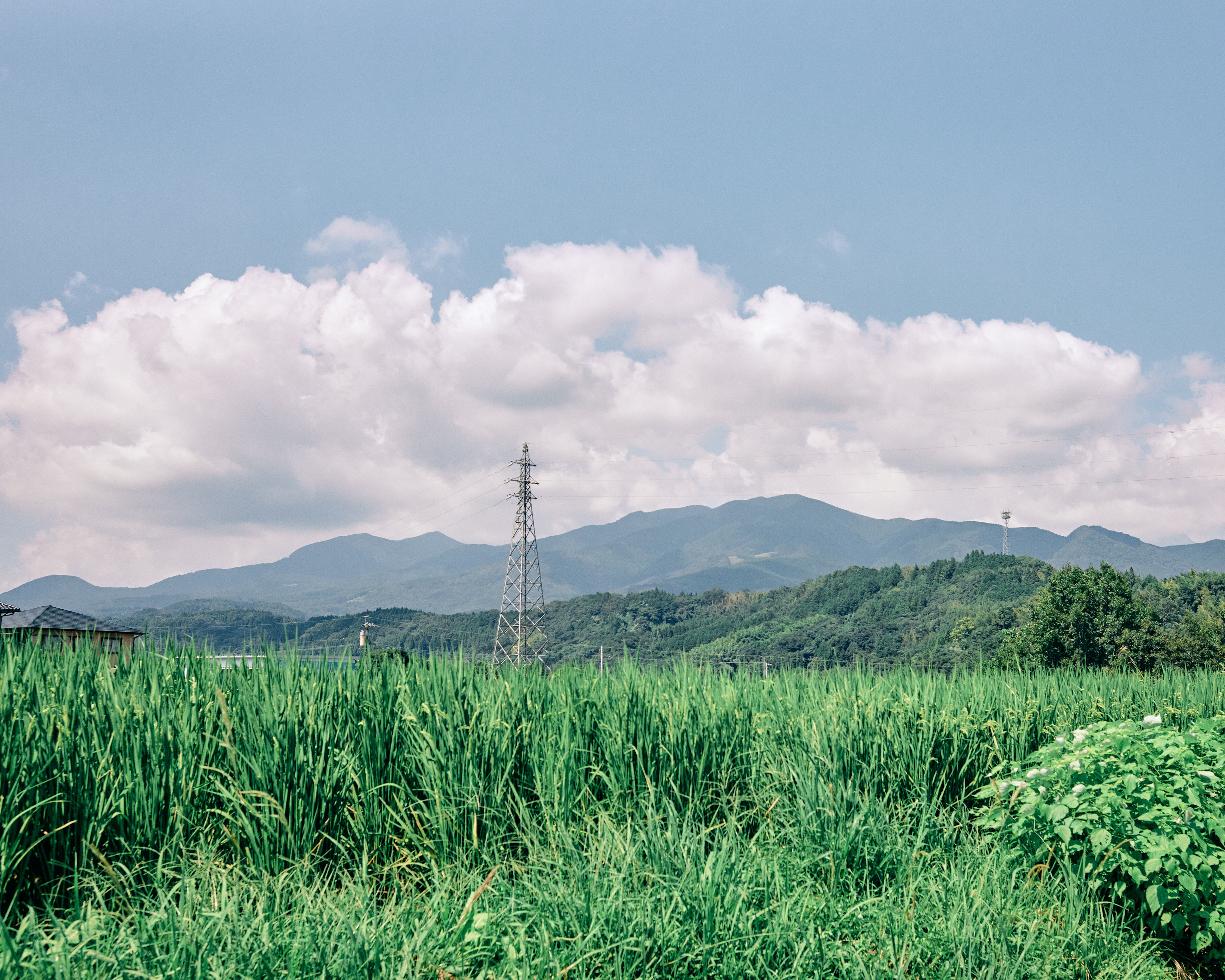 cloud mountain grass telecommunication tower fukuoka