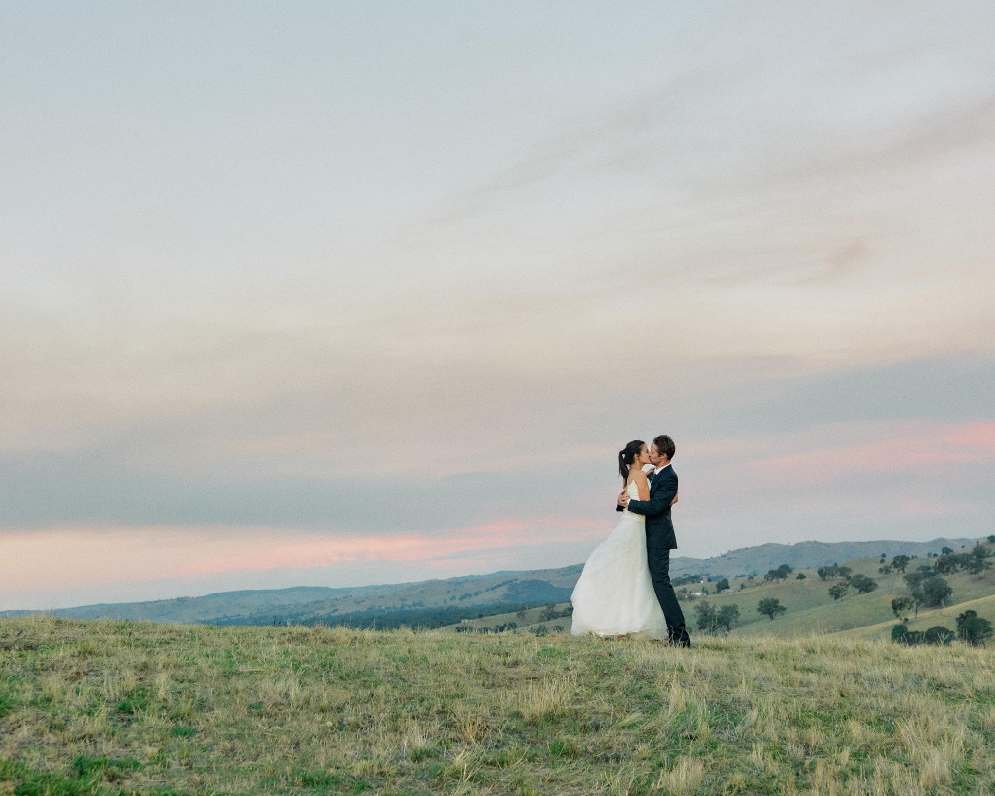 Melbourne Wedding Photographer Landscape Kiss Golden Hour