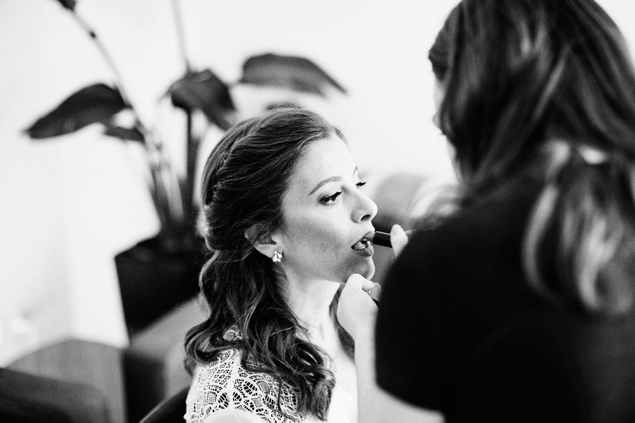 East Melbourne Wedding bride getting ready make up