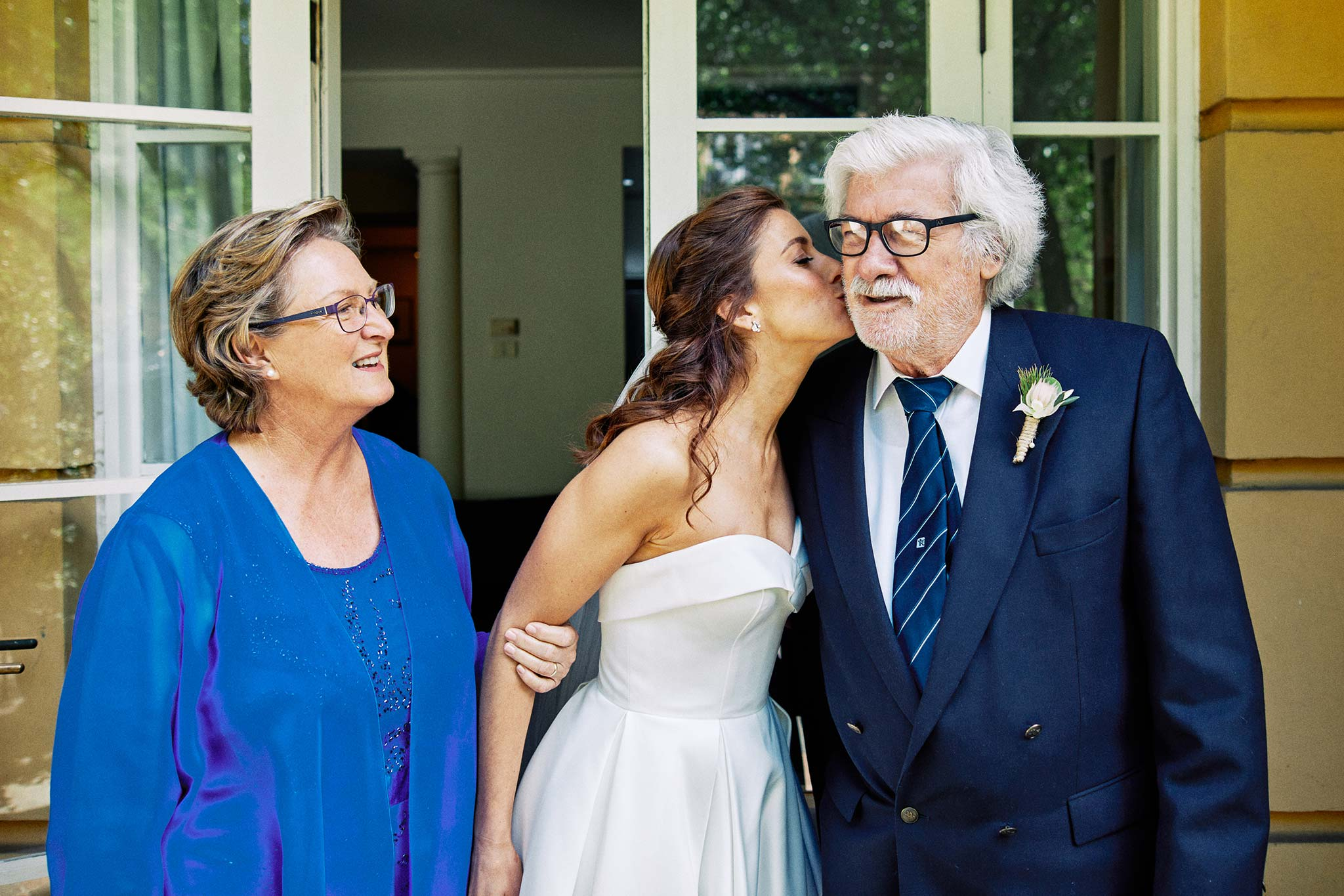 East Melbourne Wedding bride getting ready bride kissing father