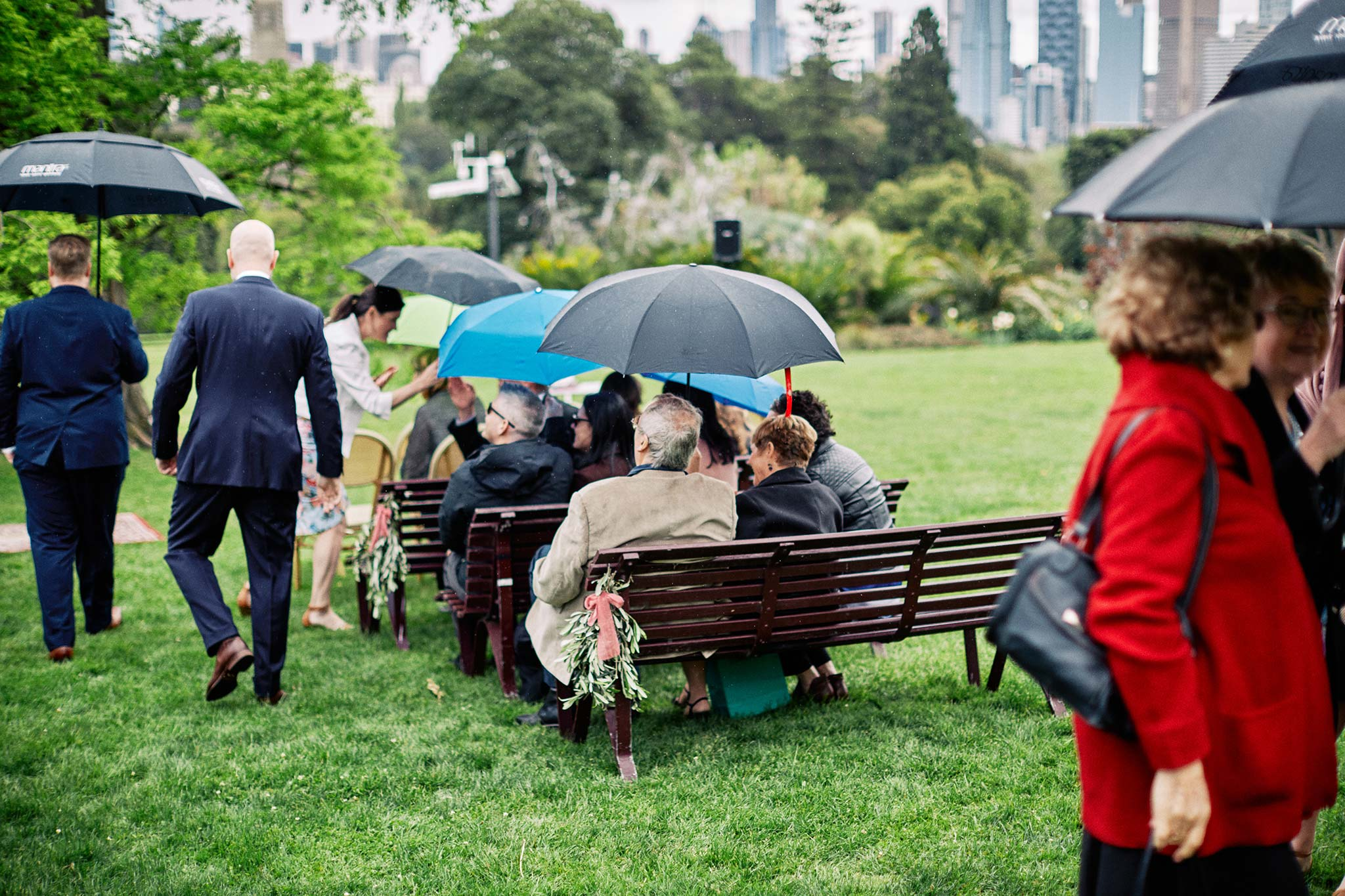 Melbourne Royal Botanical Garden Wedding Ceremony Set Up Umbrellas