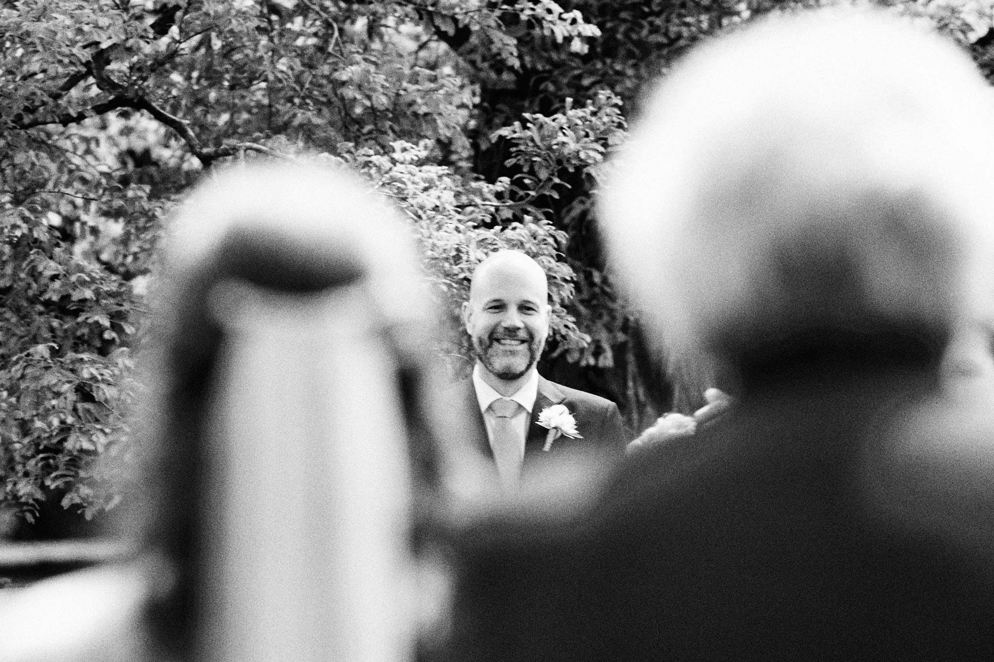 Melbourne Royal Botanical Garden Wedding Ceremony bride entrance groom expression