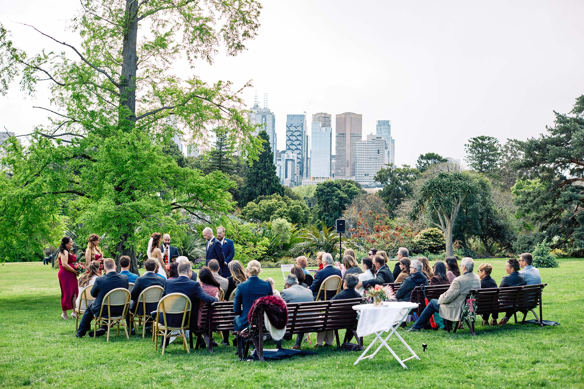 Melbourne Royal Botanical Garden Wedding Ceremony with cityview