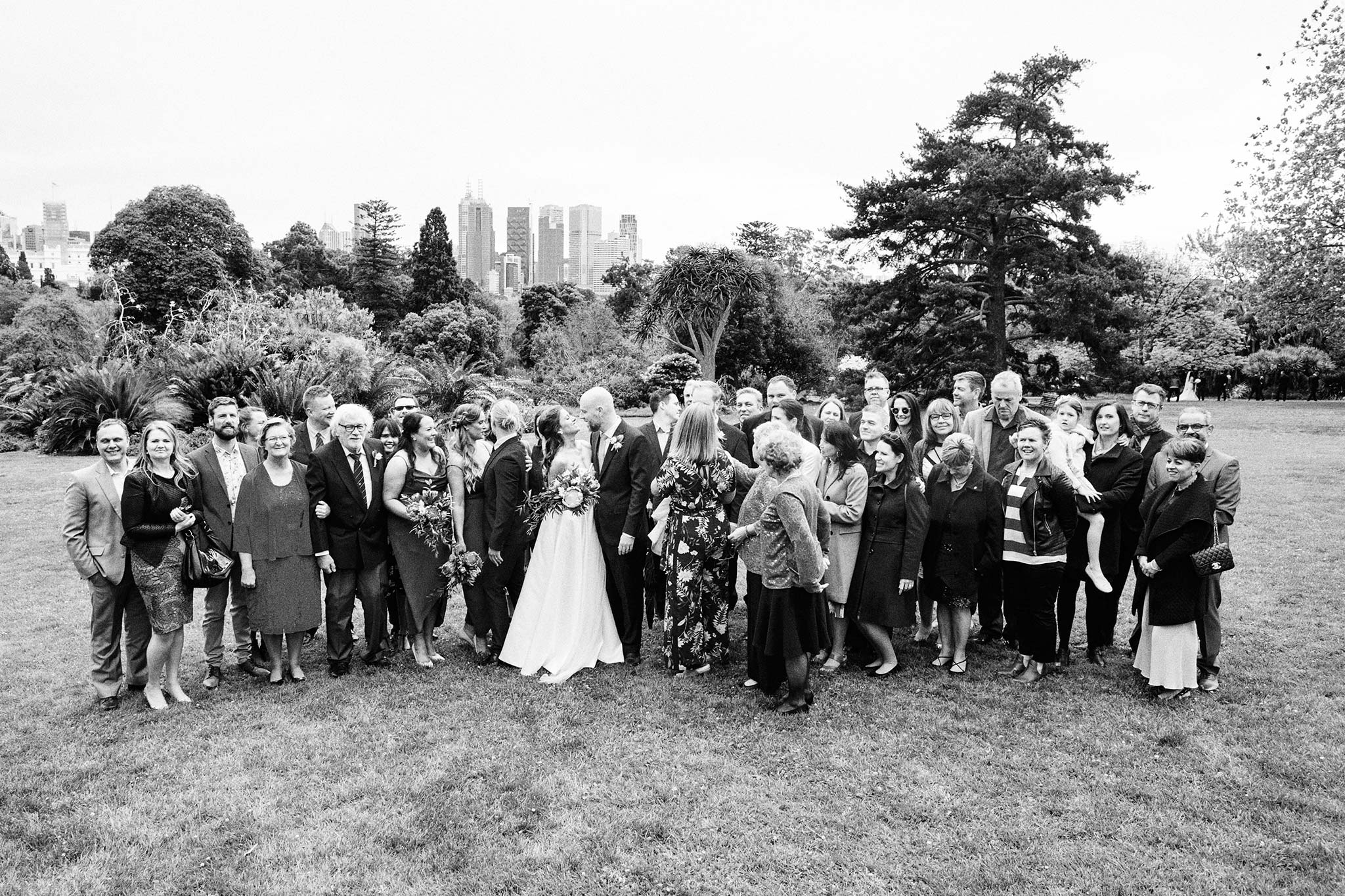 Melbourne Royal Botanical Garden Wedding Ceremony group shot