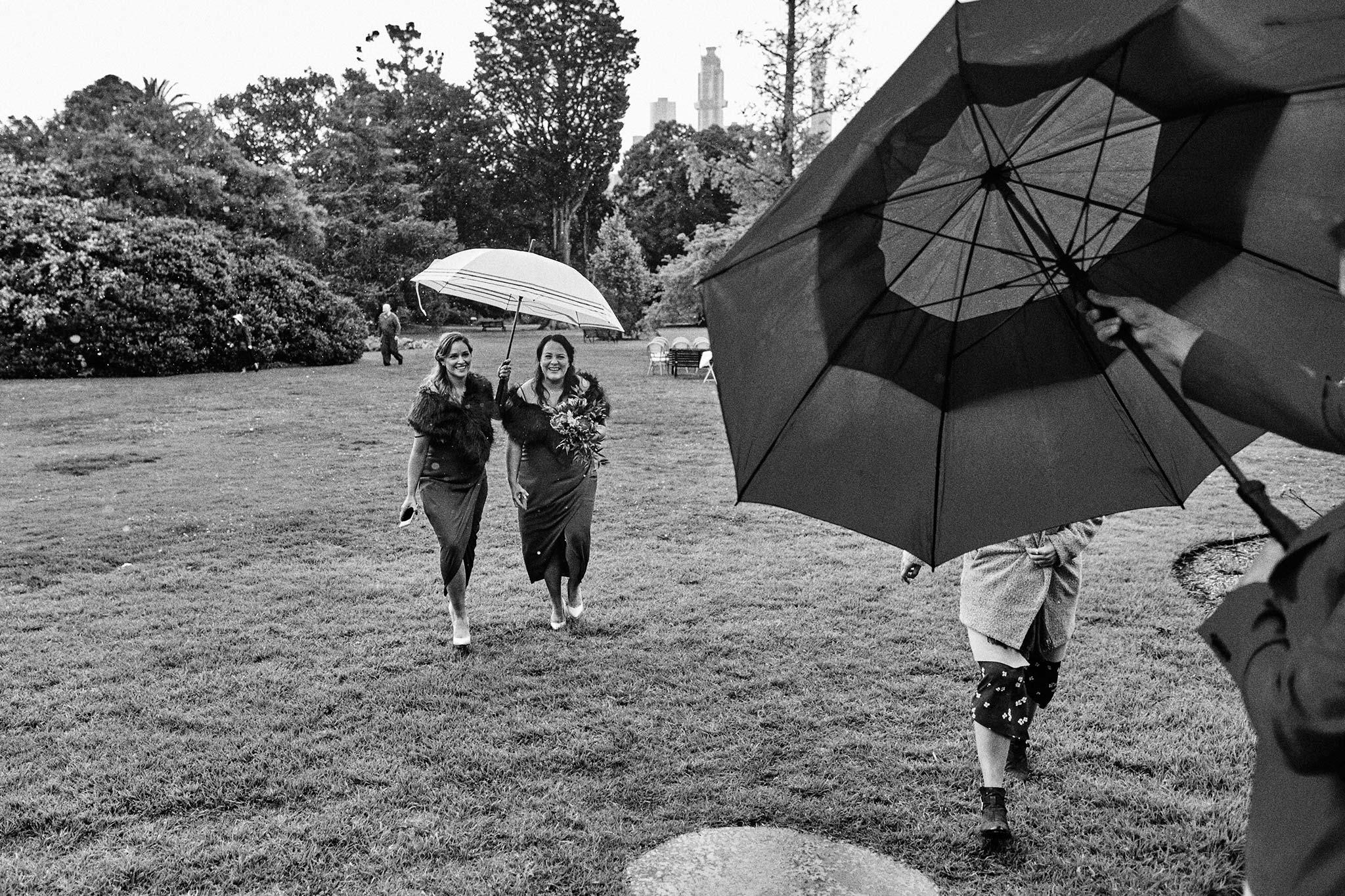 Melbourne Royal Botanical Garden Wedding Ceremony rain umbrella