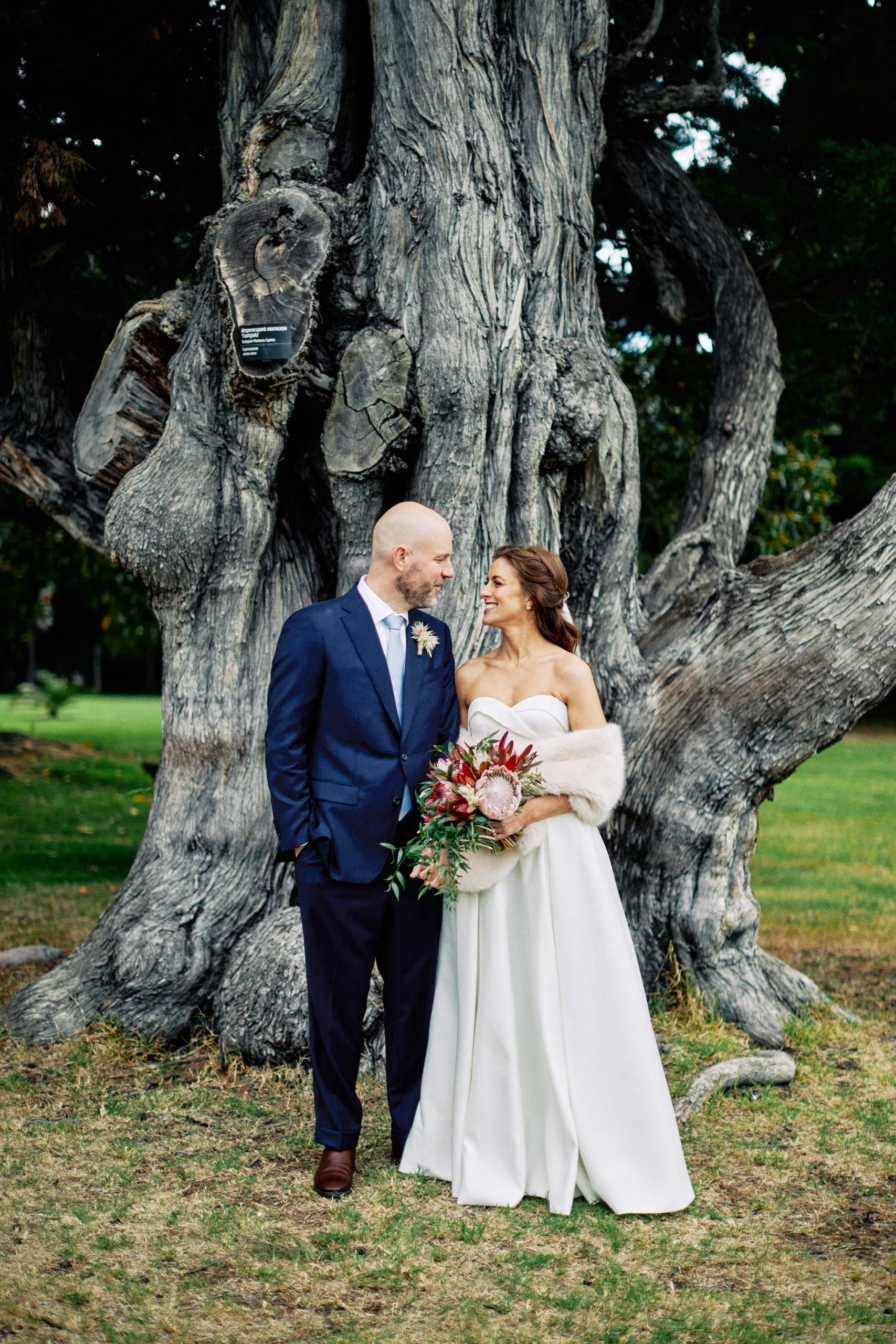 Melbourne Royal Botanical Garden Wedding Ceremony Portrait bride groom tree