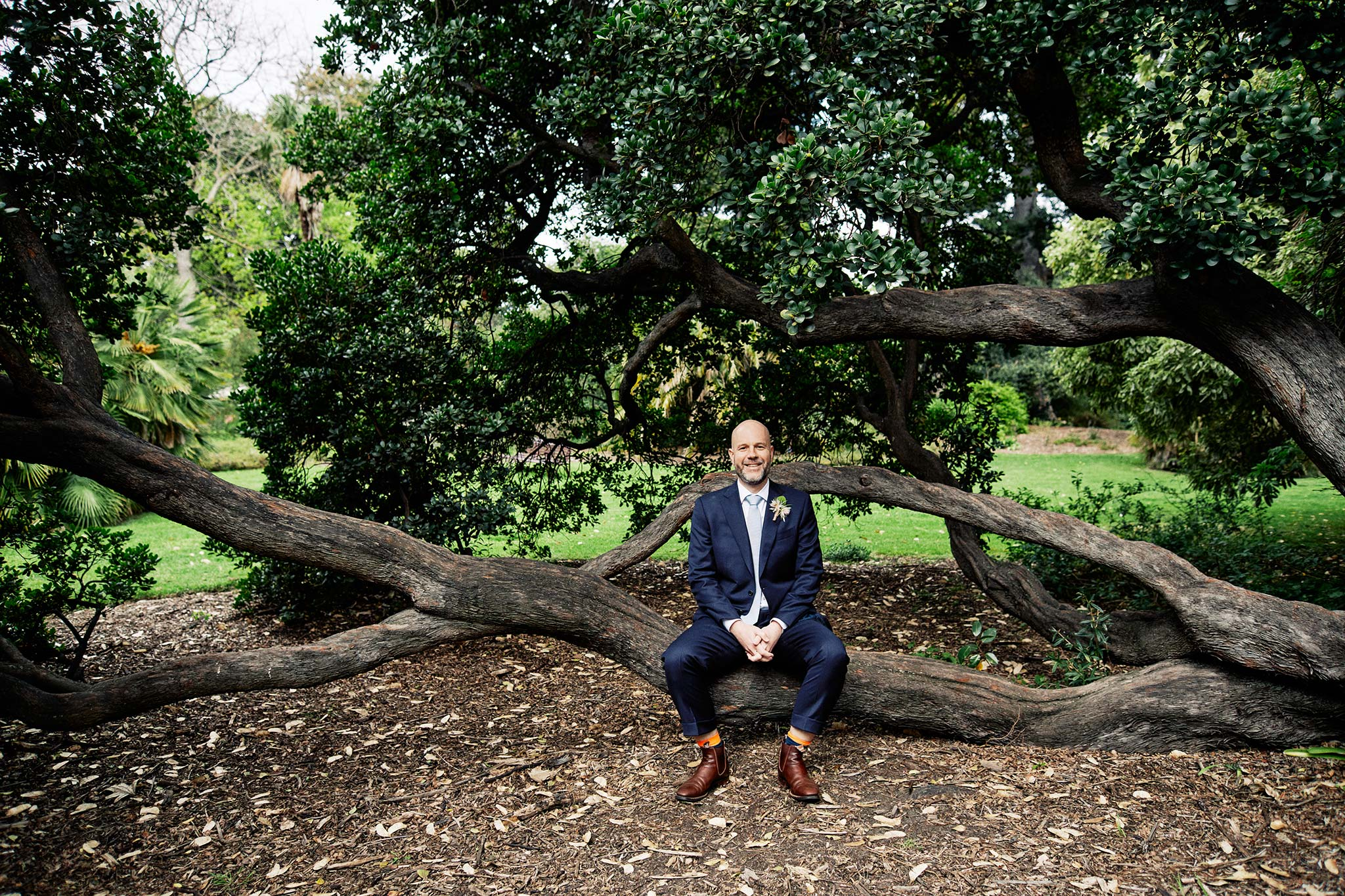 Melbourne Royal Botanical Garden Wedding Ceremony Portrait groom sitting