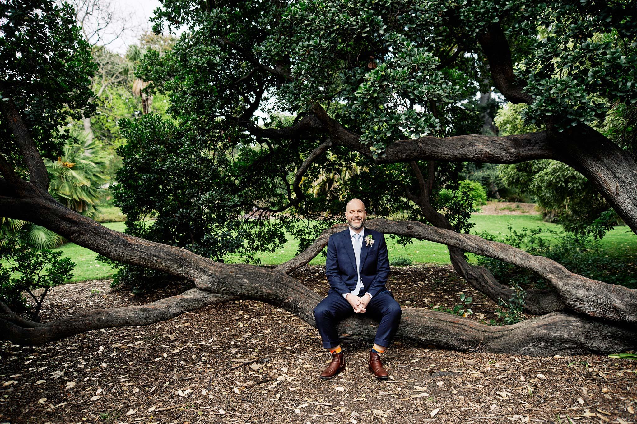 Melbourne Royal Botanical Garden Wedding Ceremony Portrait groom sitting