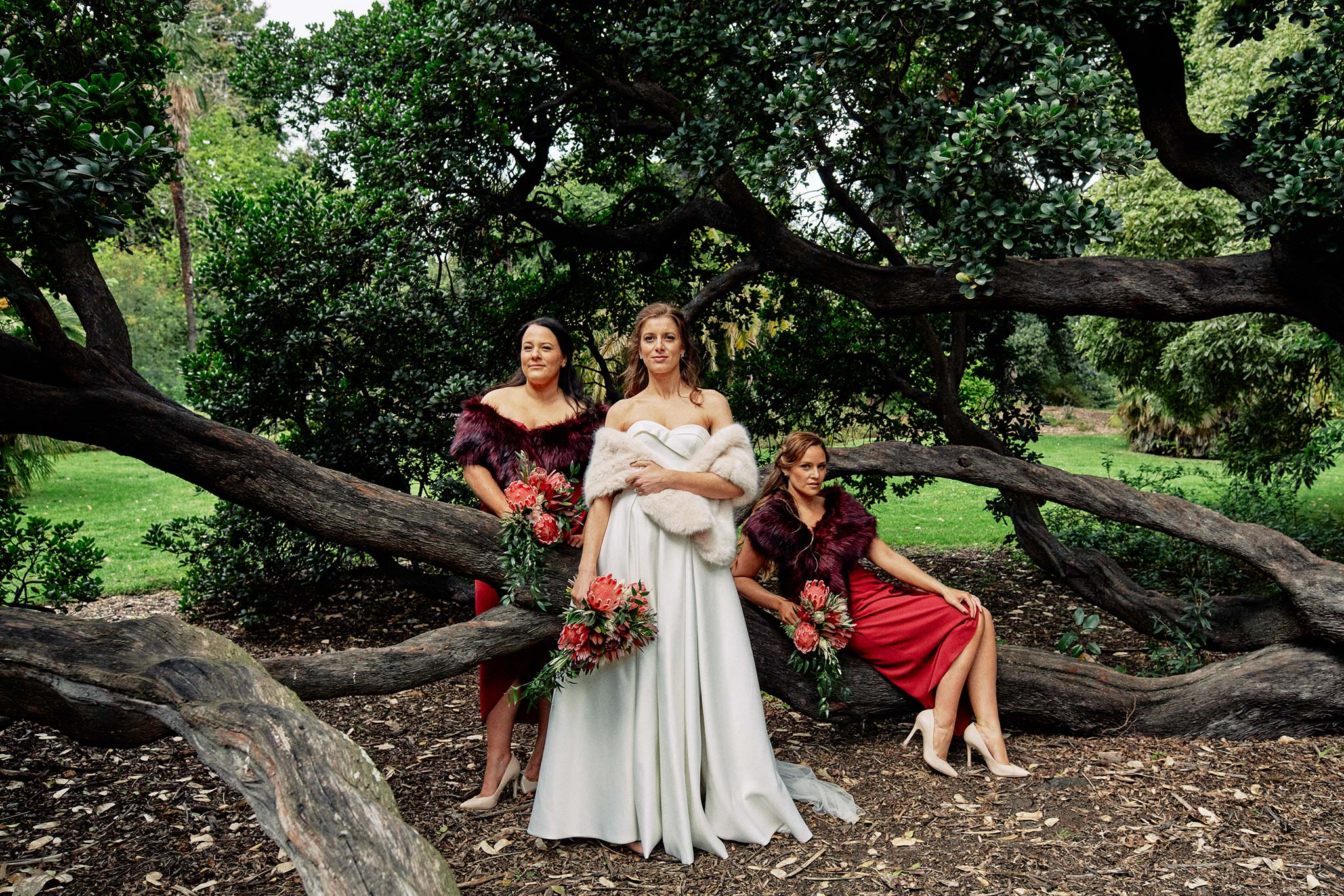 Melbourne Royal Botanical Garden Wedding Bridal Party group portrait