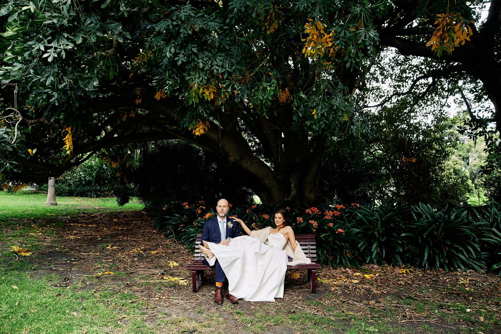 Melbourne Royal Botanical Garden Wedding bride groom bench portrait