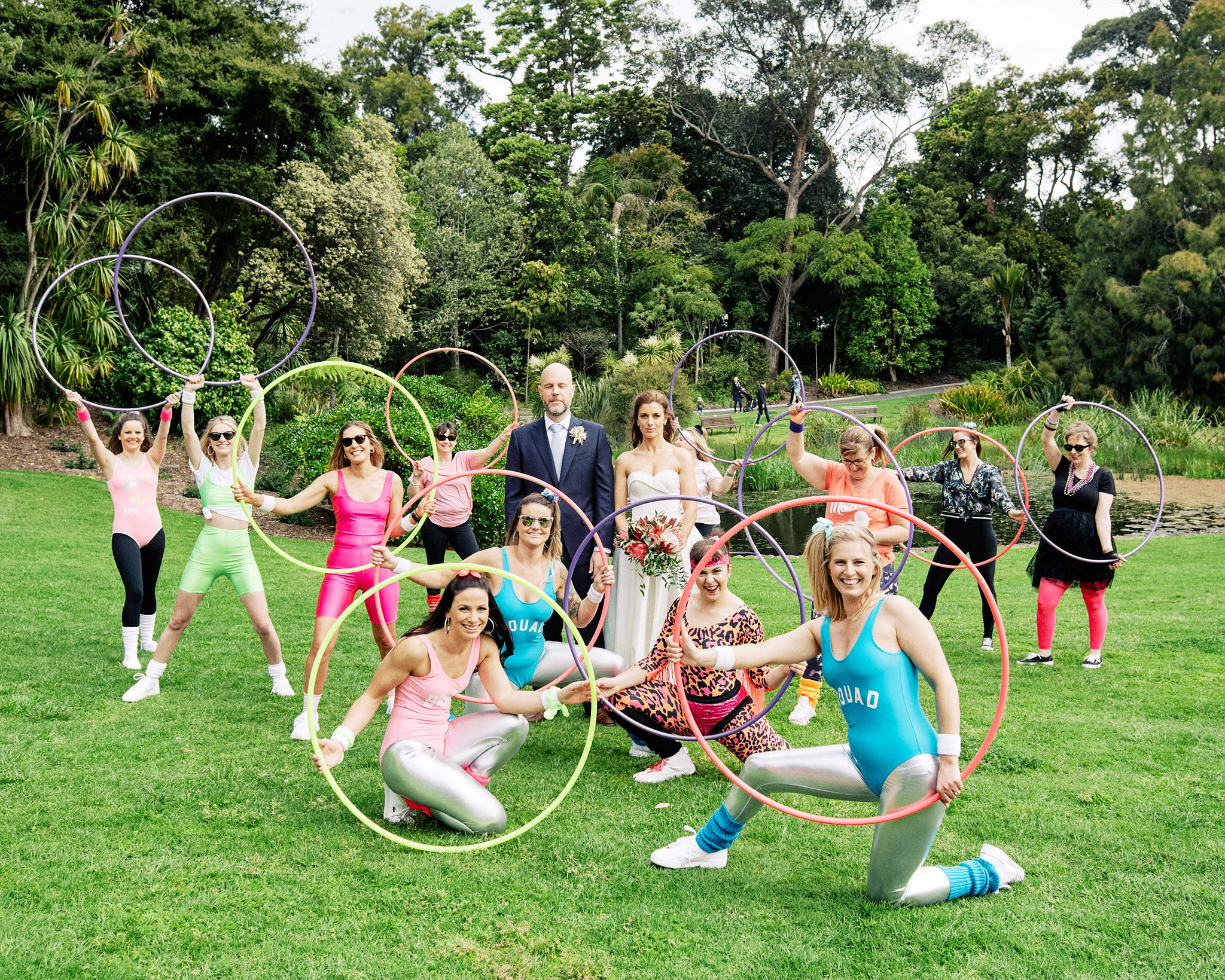 Melbourne Royal Botanical Garden Wedding hoola hoop group shot