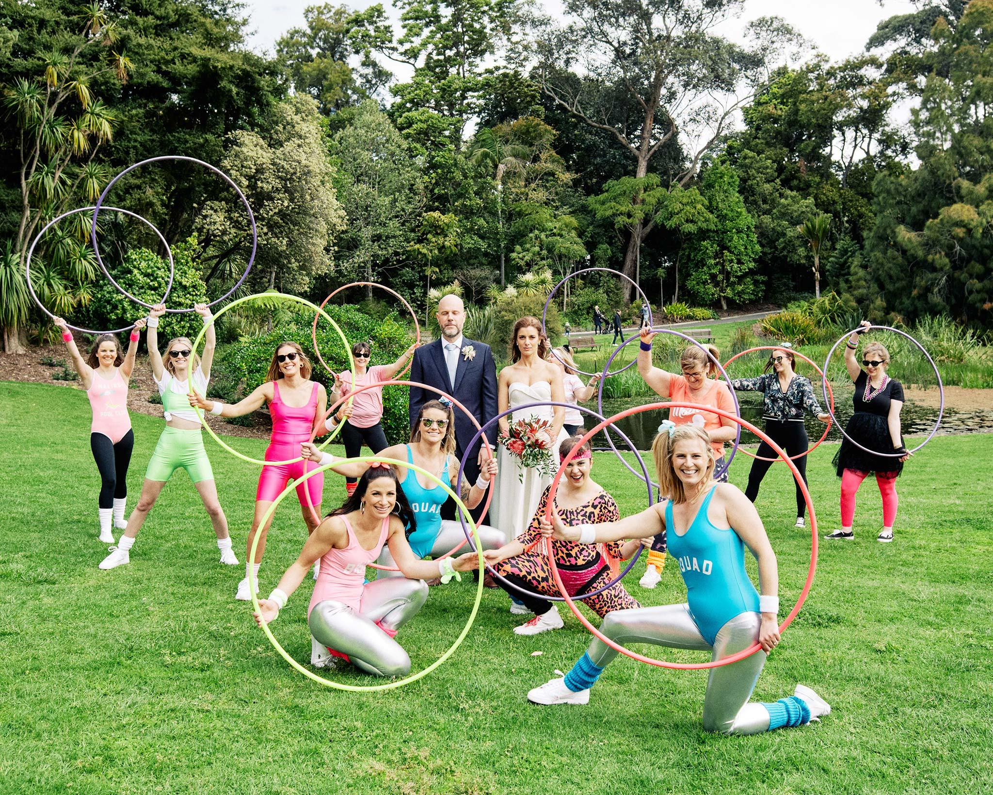 Melbourne Royal Botanical Garden Wedding hoola hoop group shot