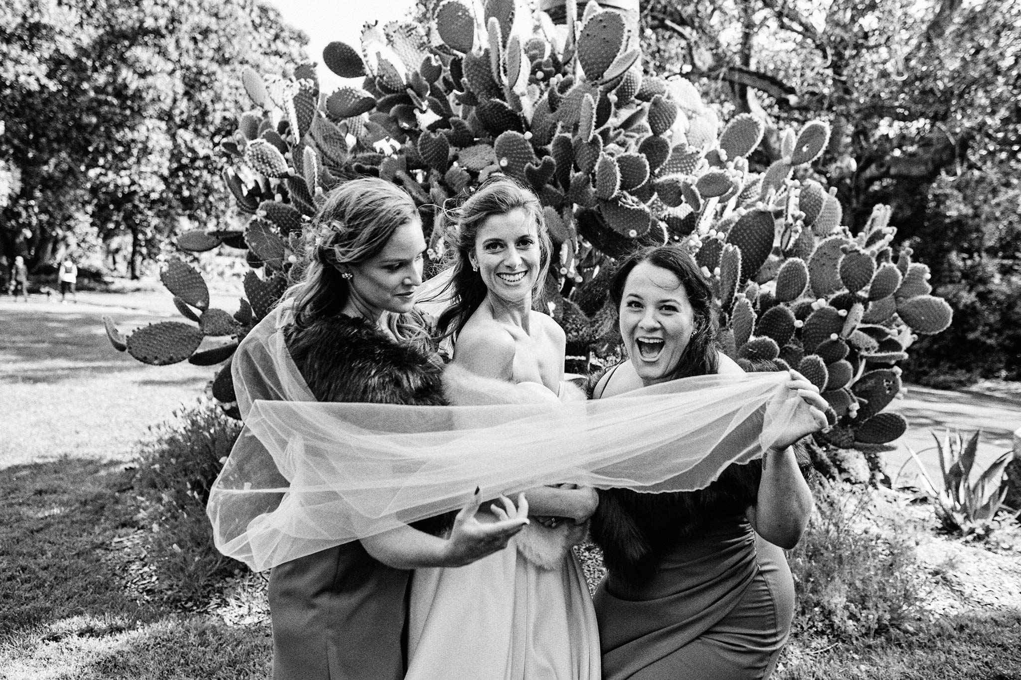 Melbourne Royal Botanical Garden Wedding bridesmaids happy