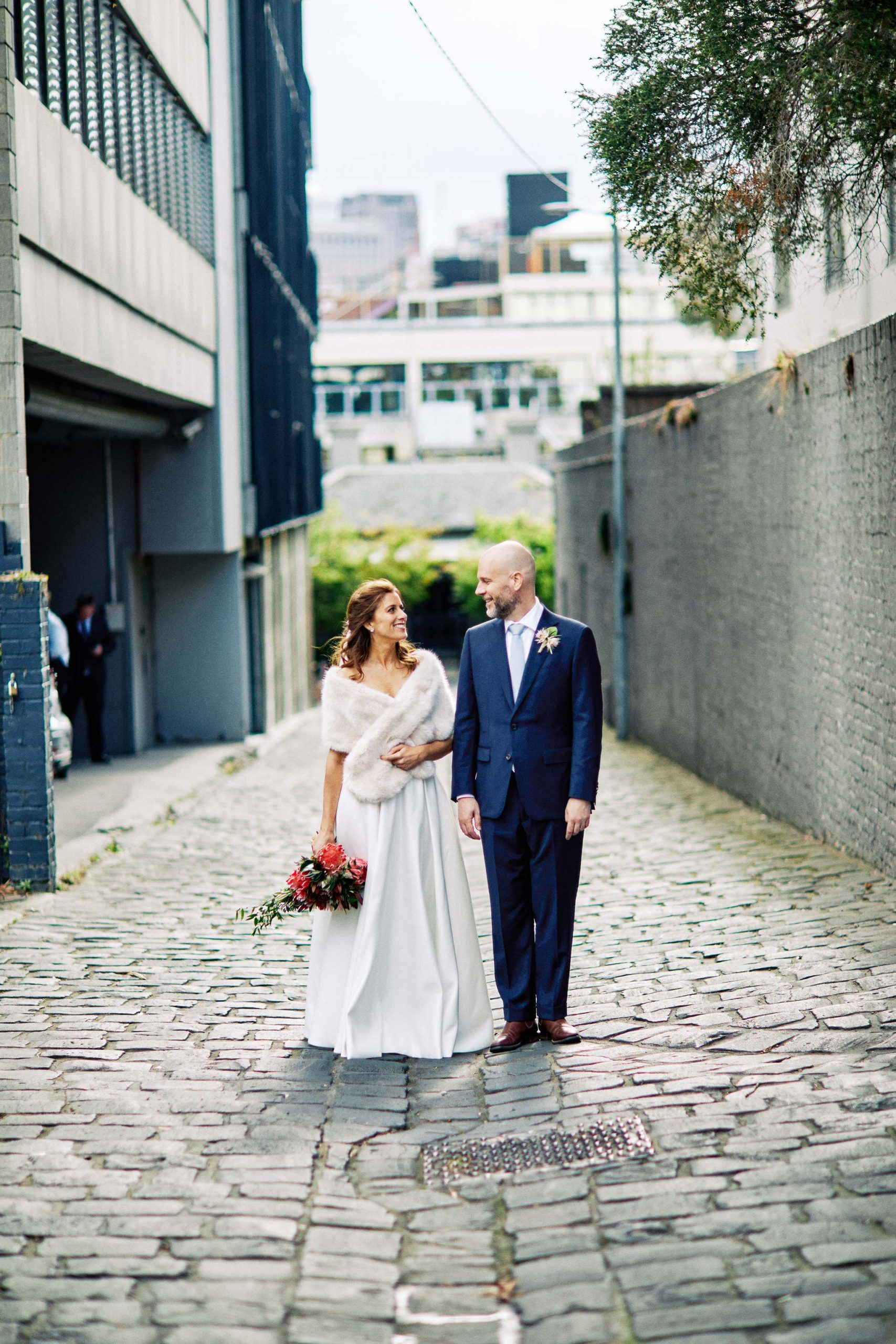 East Melbourne wedding couple alleyway