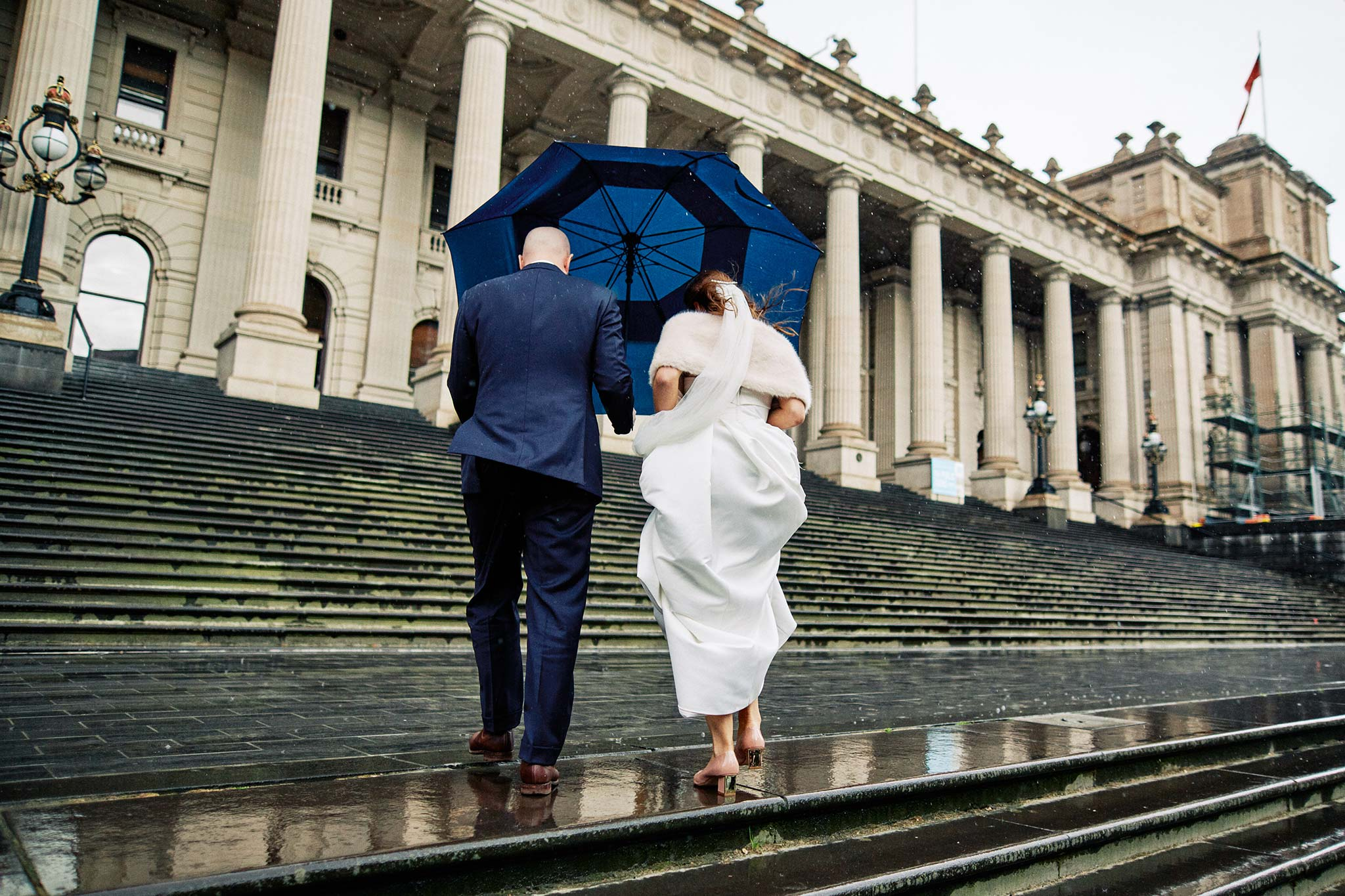Melbourne Wedding Portrait Parliament Rain Bride Groom