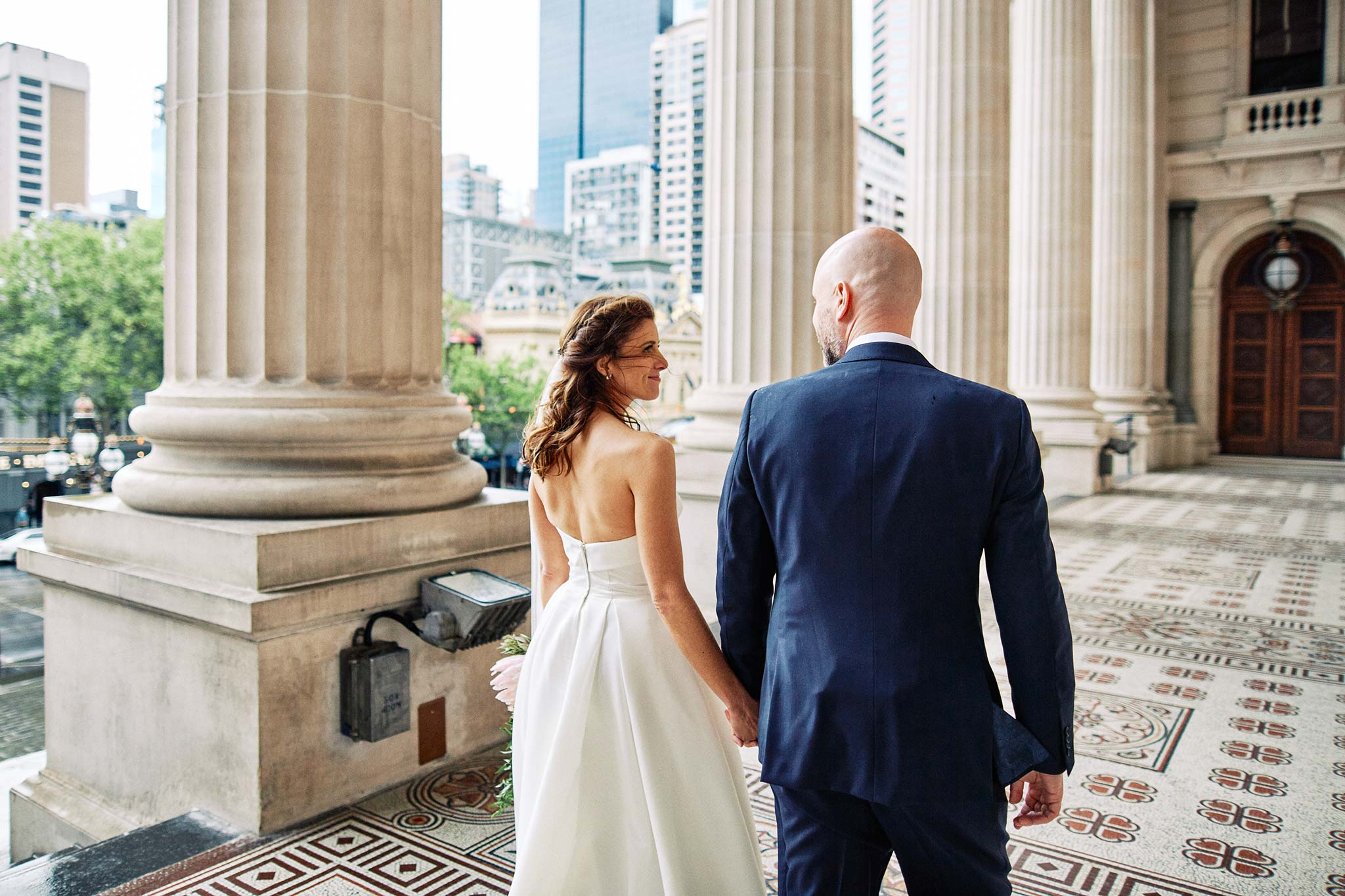 Melbourne Wedding Portrait Parliament Rain Bride Groom walking
