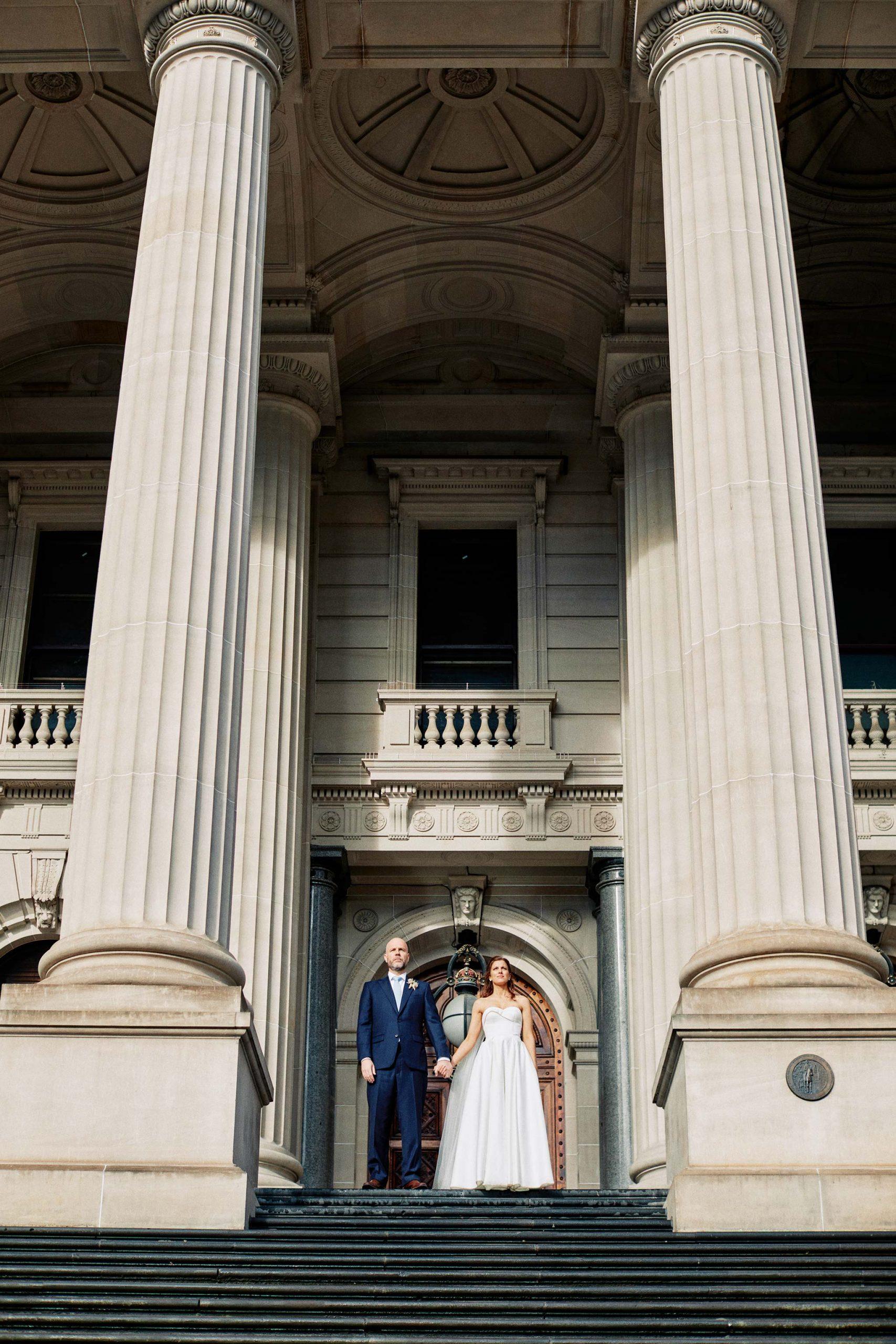 Melbourne Wedding Portrait Parliament Rain Bride Groom Portrait