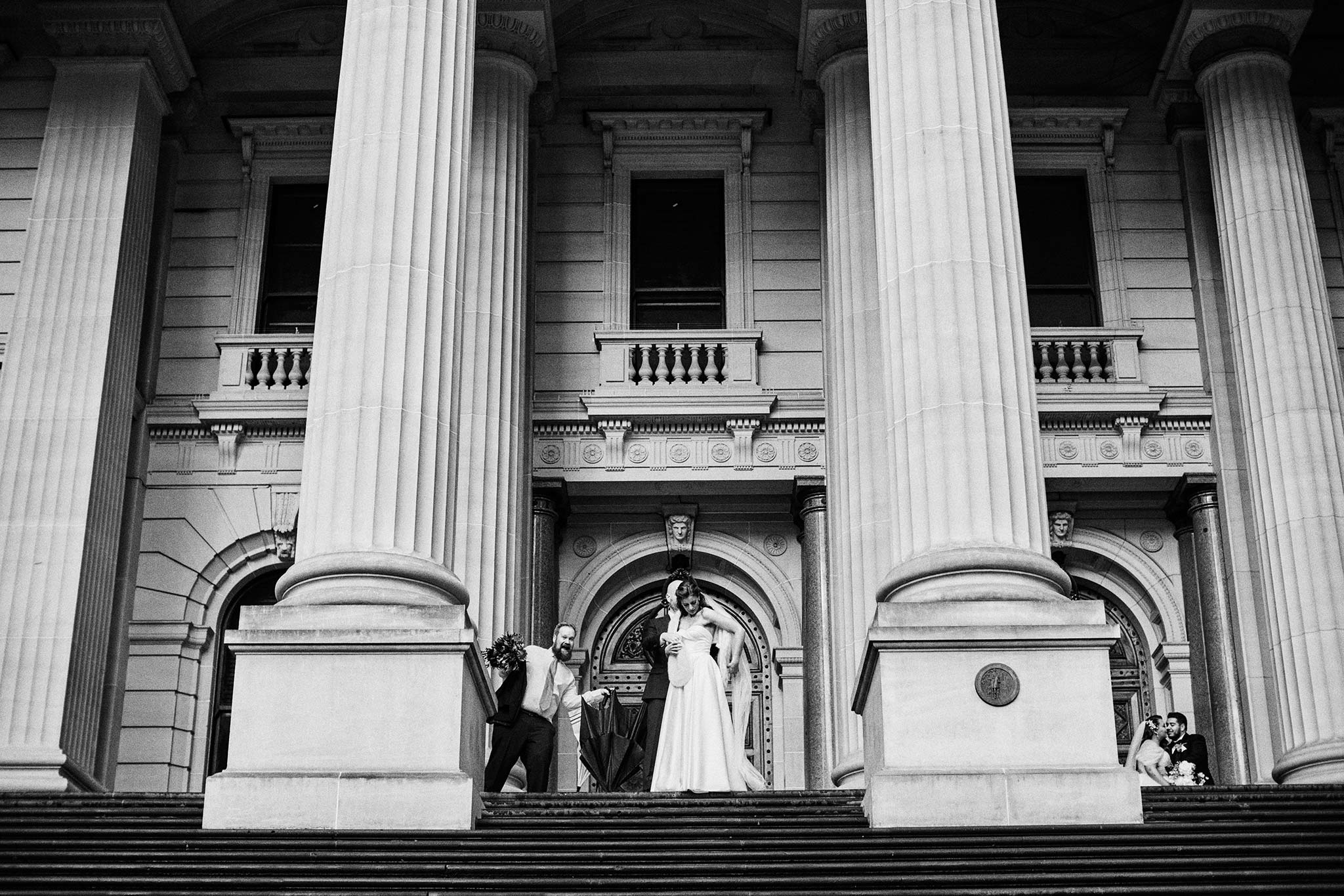 Melbourne Wedding Portrait Parliament Rain Bride Groom behind the scenes