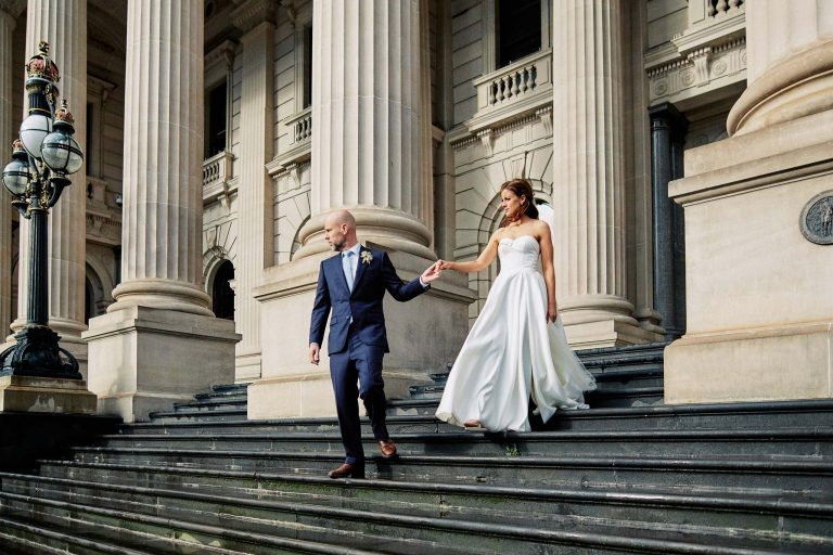 Melbourne Wedding Portrait Parliament Rain Bride Groom Portrait