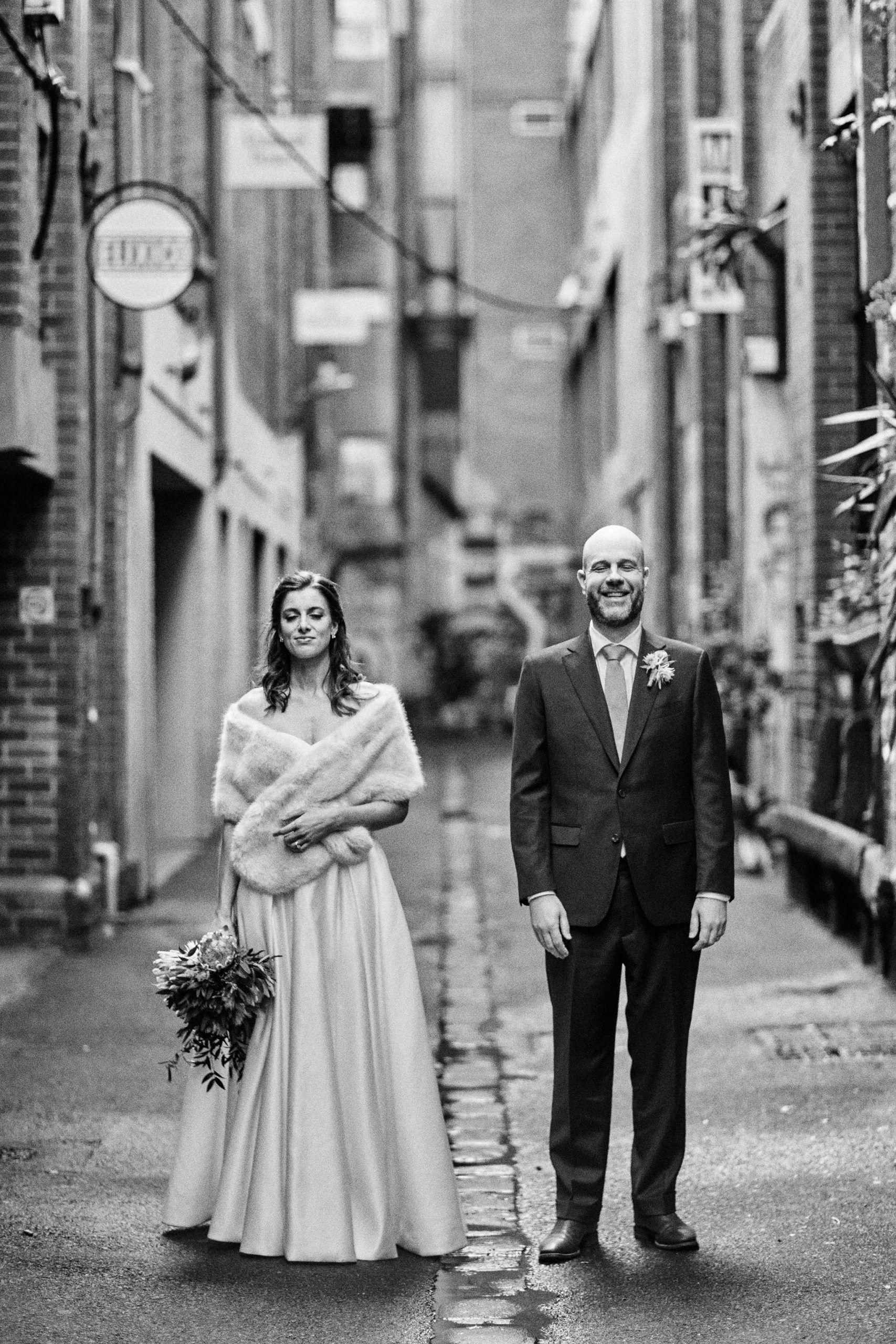 Melbourne Wedding Hardware Lane alley portrait bride groom