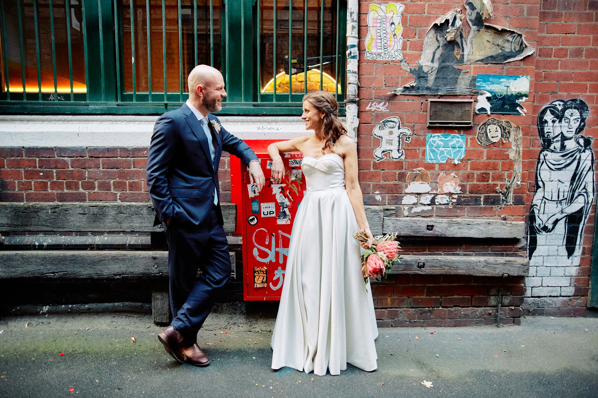 Melbourne Wedding Hardware Lane alley portrait bride groom candid
