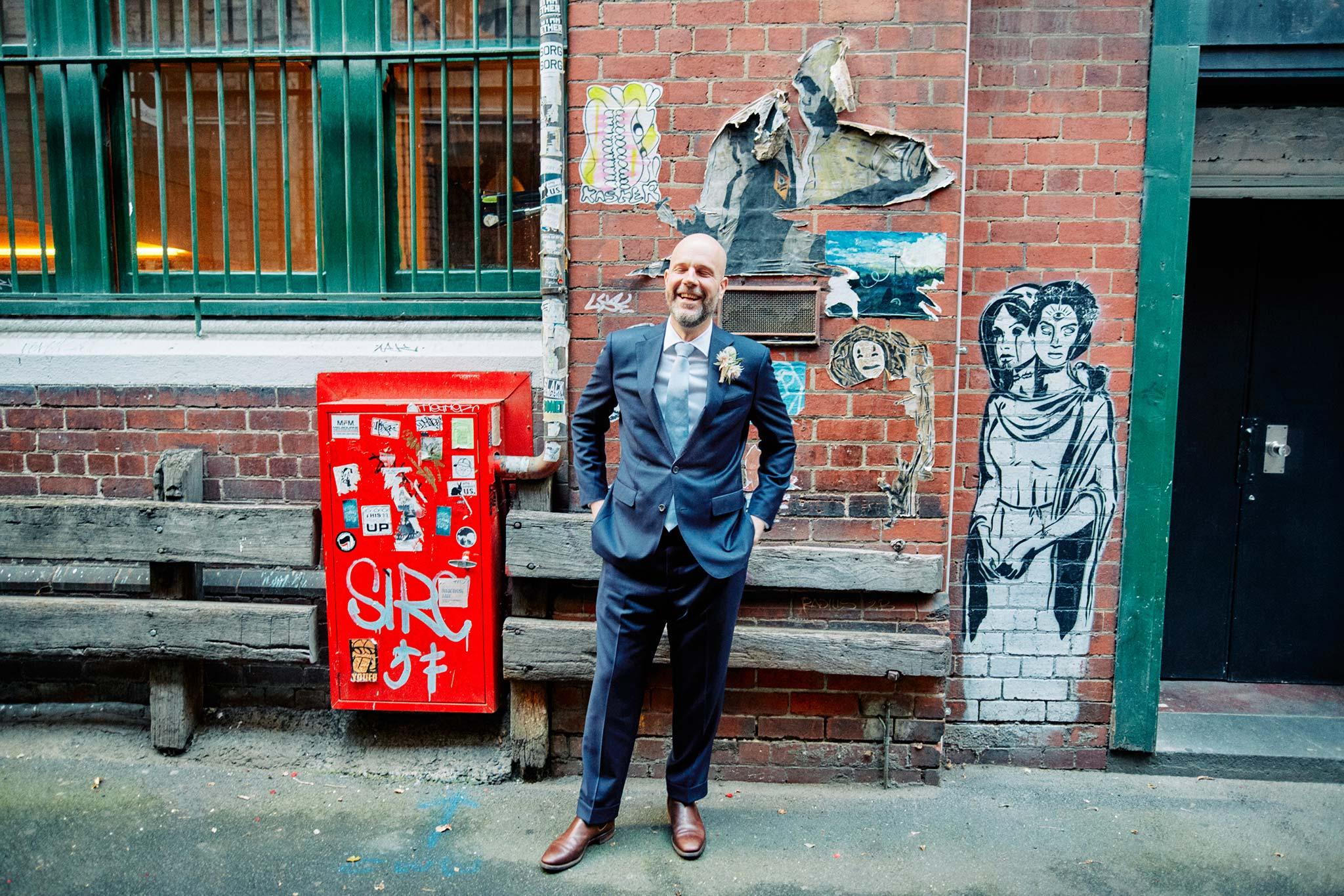 Melbourne Wedding Hardware Lane alley portrait groom smiling