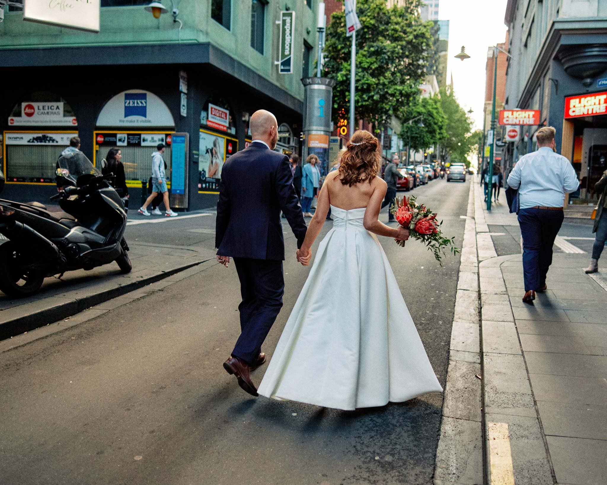 Classic Melbourne Wedding Bride Groom walking towards french saloon reception