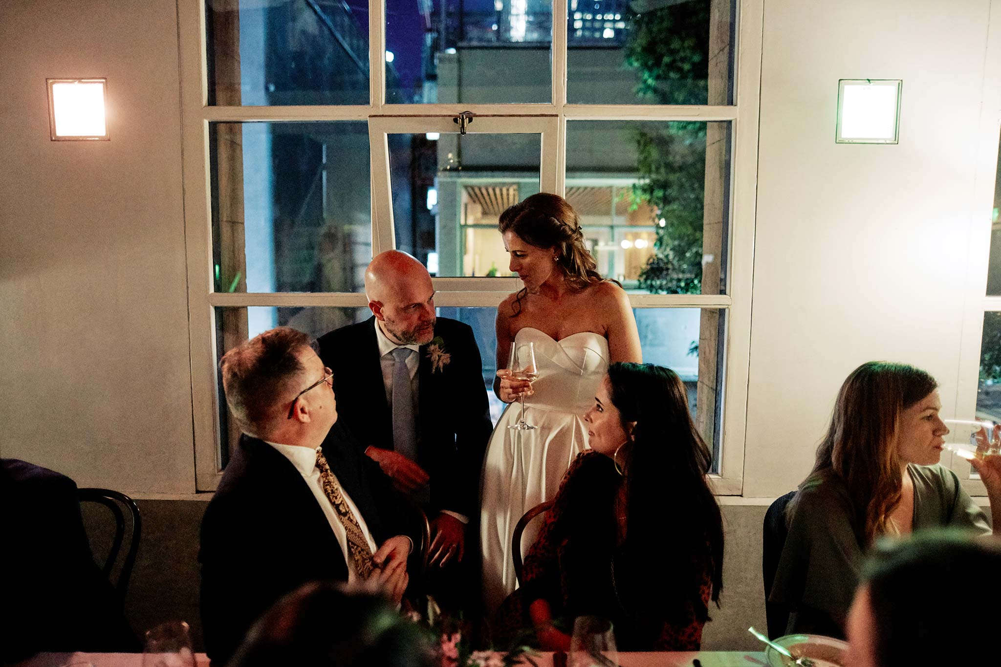 classic melbourne wedding reception french saloon dinner night bride groom guests