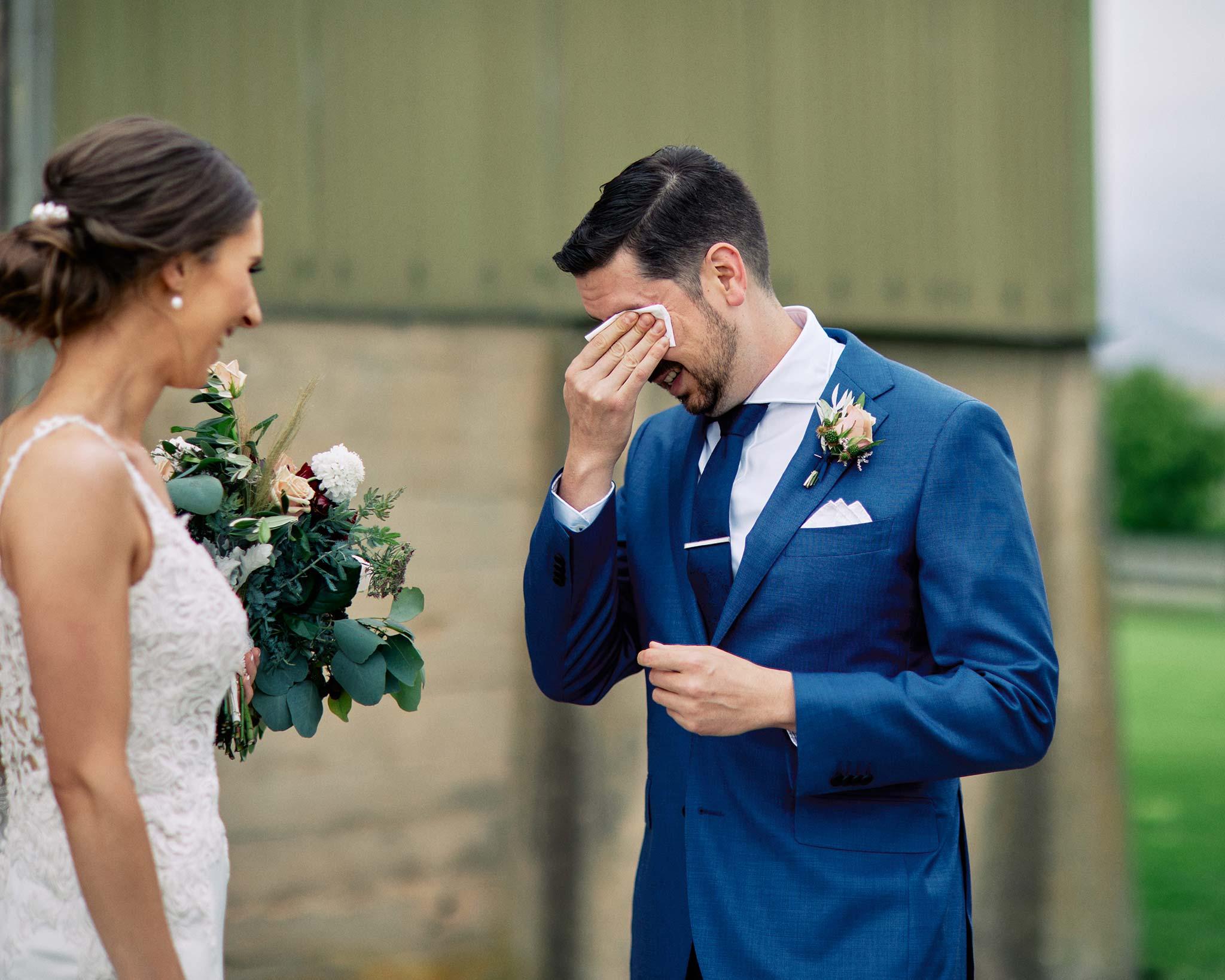 Zonzo estate wedding groom crying