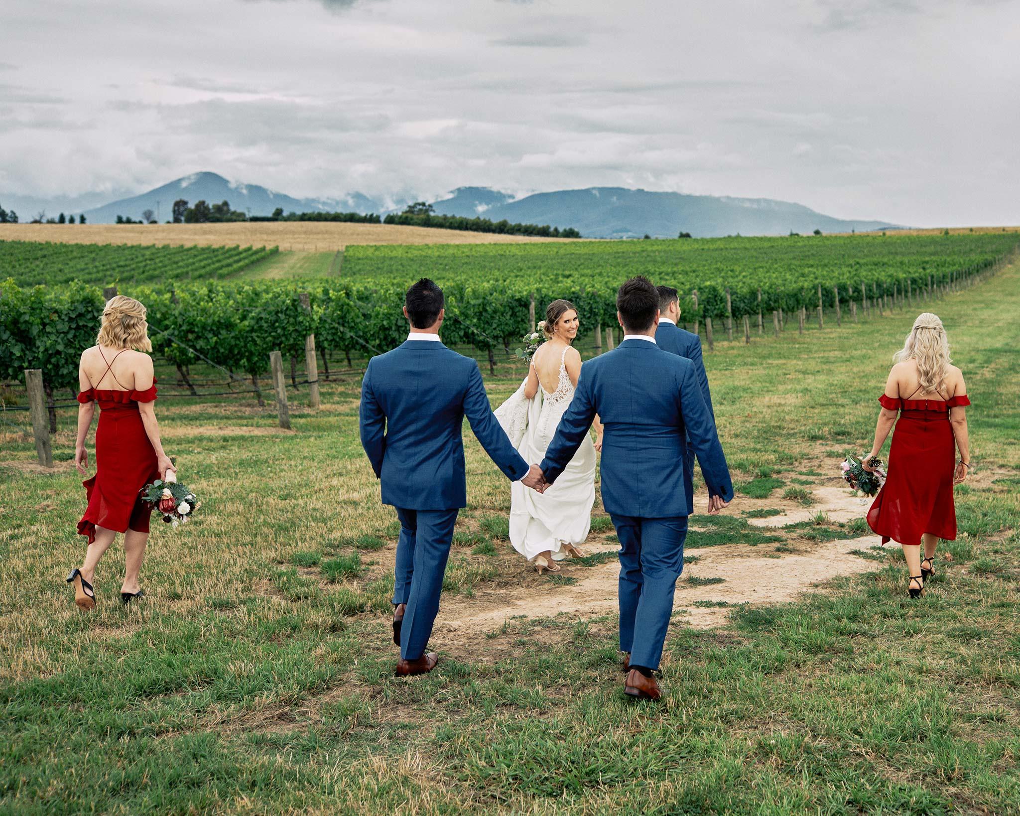 Zonzo estate wedding bridal party vineyard