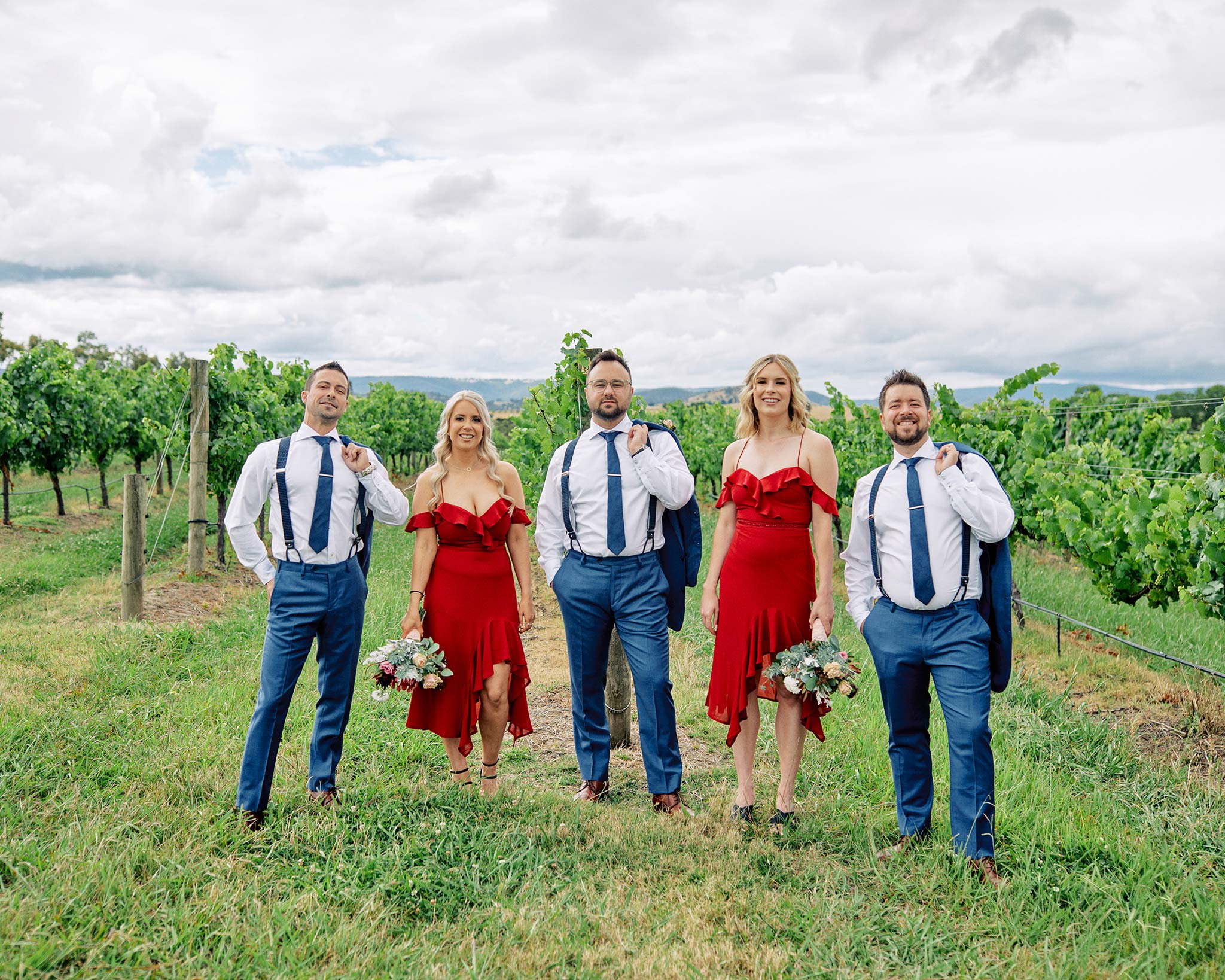 Zonzo estate wedding bridal party portrait vineyard