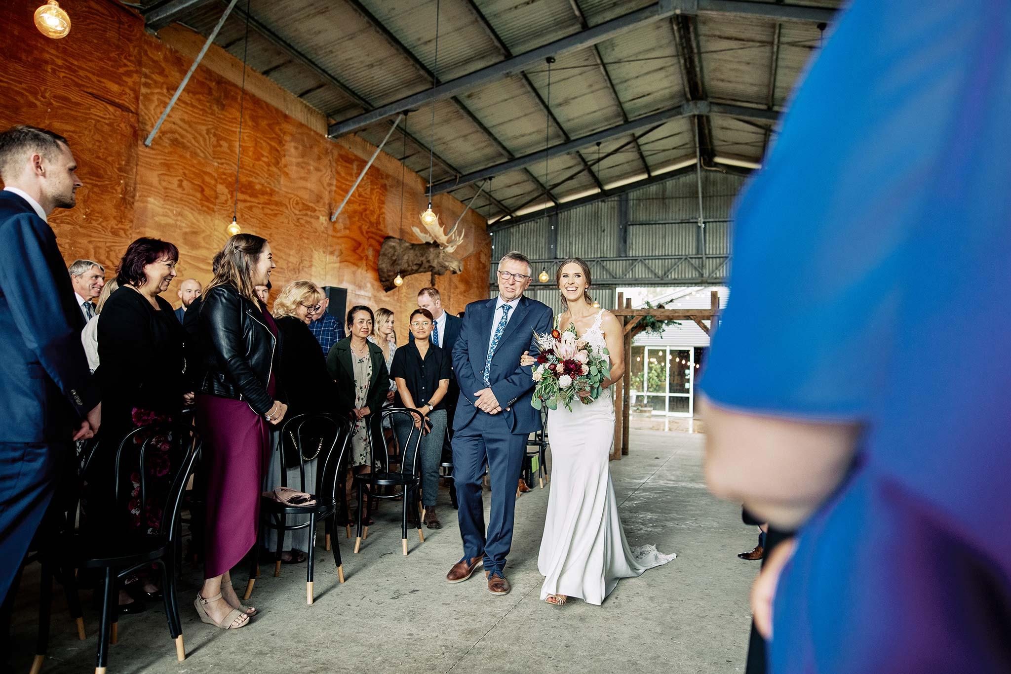 Zonzo estate wedding bridal entry with dad