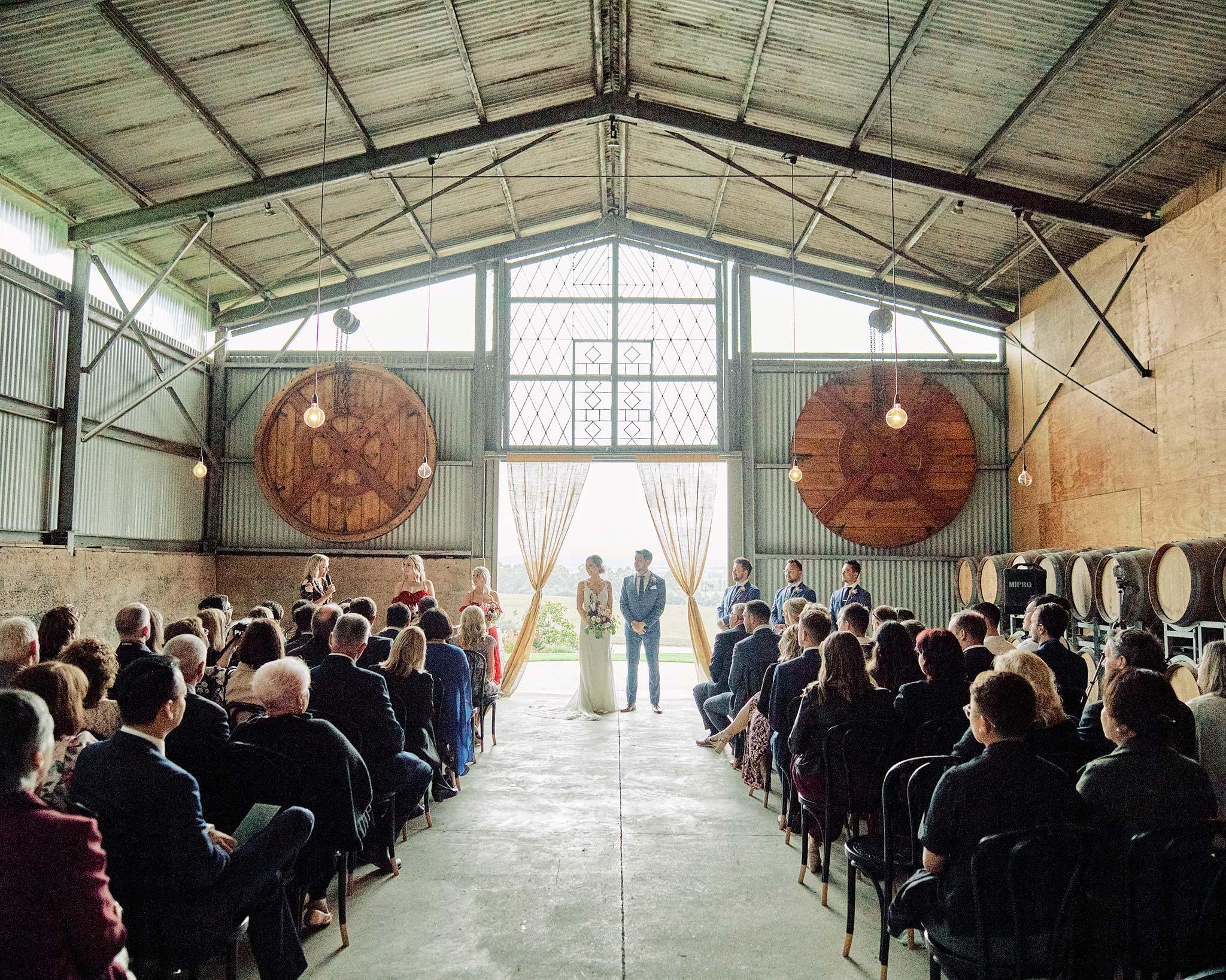 Zonzo estate wedding full ceremony barn view