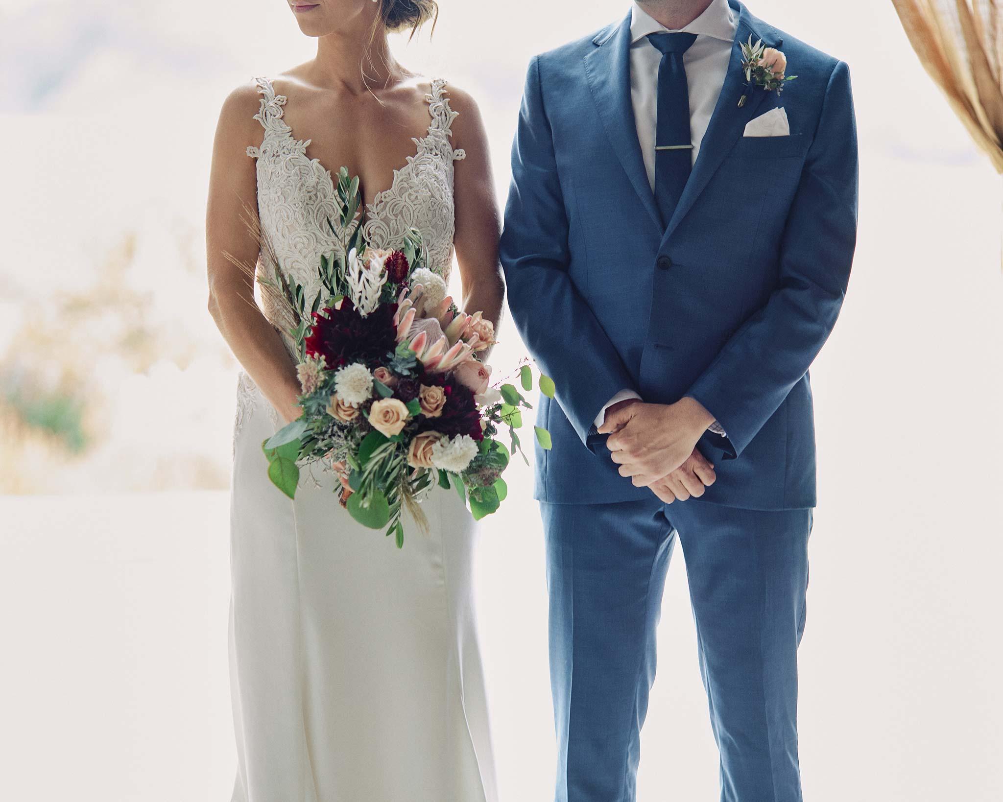 Zonzo estate wedding couple bouquet