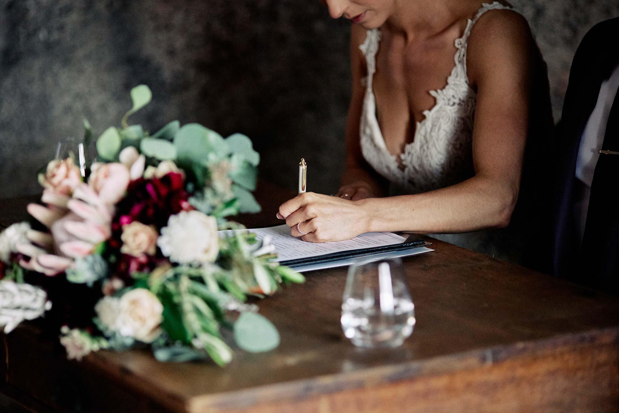 Zonzo estate wedding ceremony signging of paper