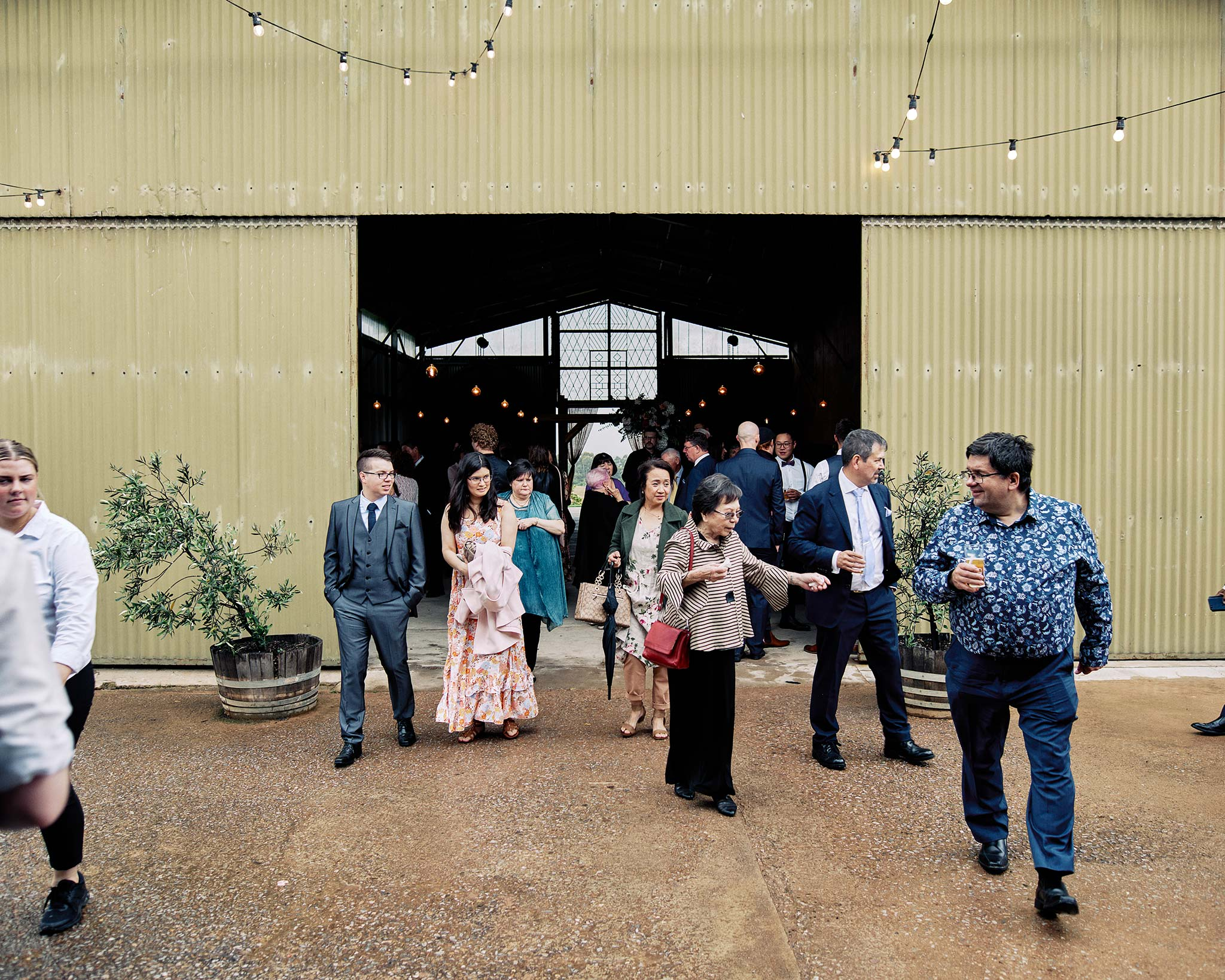 Zonzo estate wedding guests enter for reception