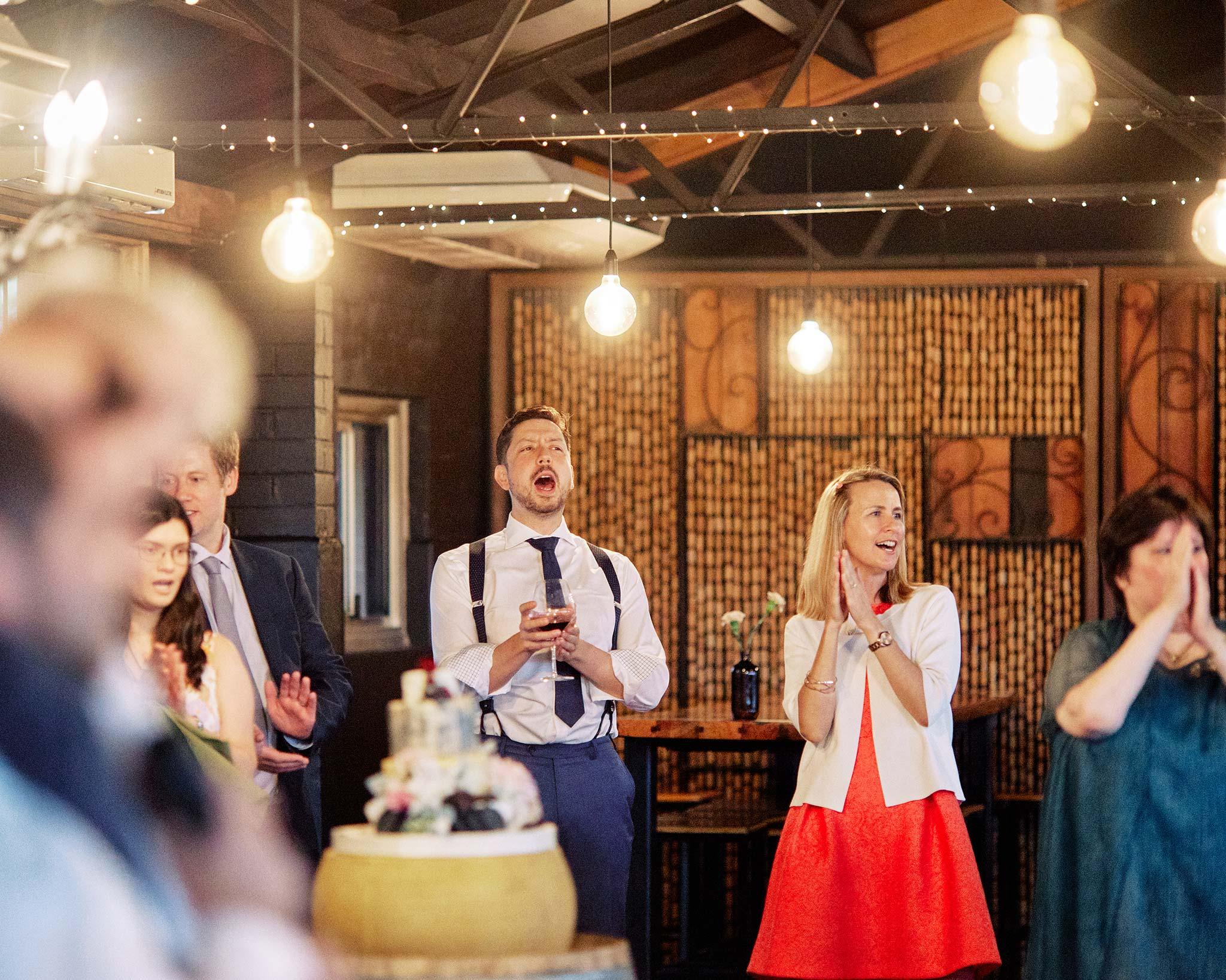 zonzo wedding photography reception speech reaction